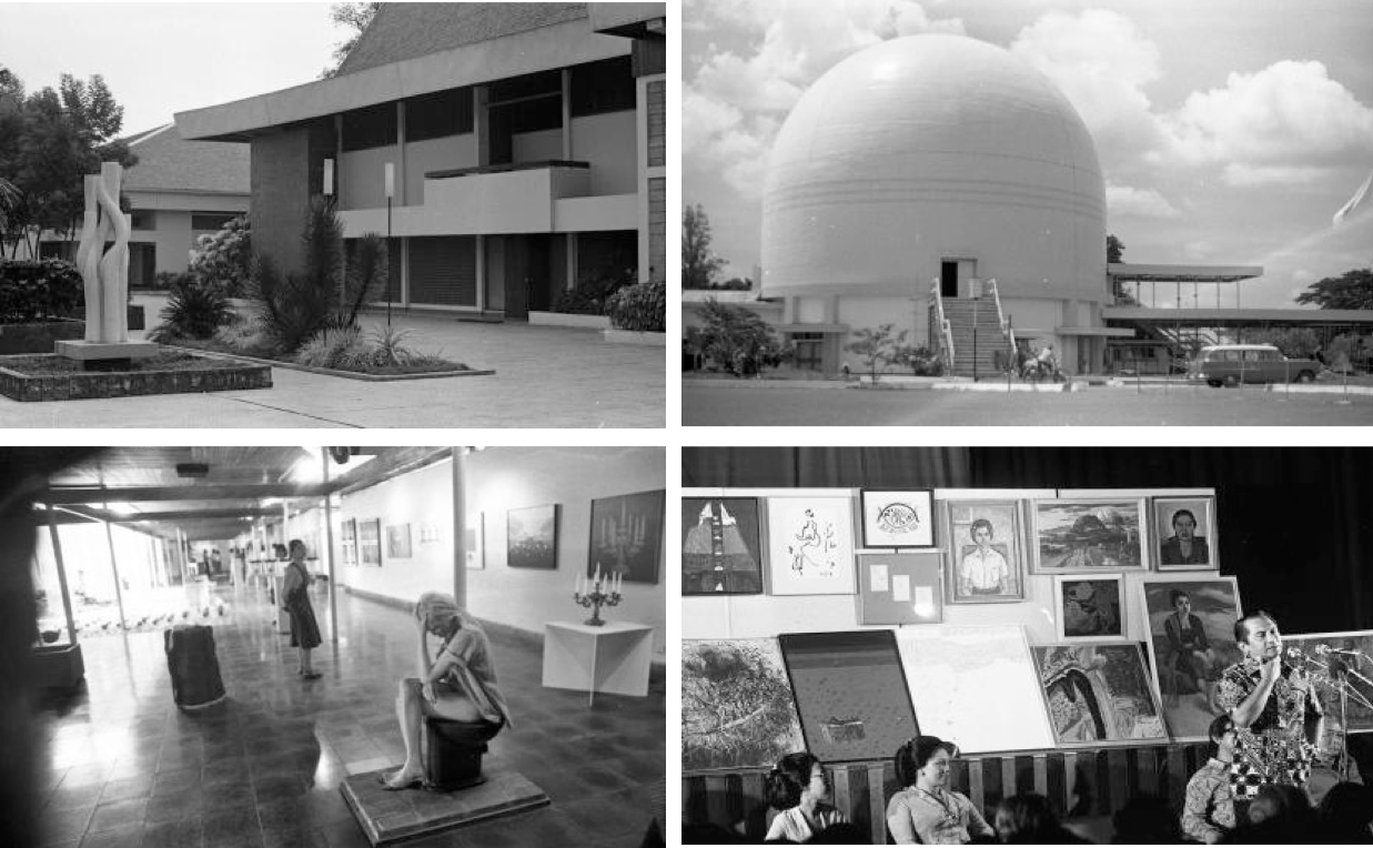 From top left to bottom right:  Taman Ismail Marzuki complex, 1972  Planetarium in Taman Ismail Marzuki complex, 1972  Pameran Seni Rupa Baru (New Fine Art Exhibition) at Taman Ismail Marzuki exhibition hall, 1977  Ali Sadikin's (Jakarta governor from 1966 to 1977) farewell, organized by the Indonesian artist community at Taman Ismail Marzuki, 1977. In the background are the paintings gifted to Ali Sadikin from various artists for his service.