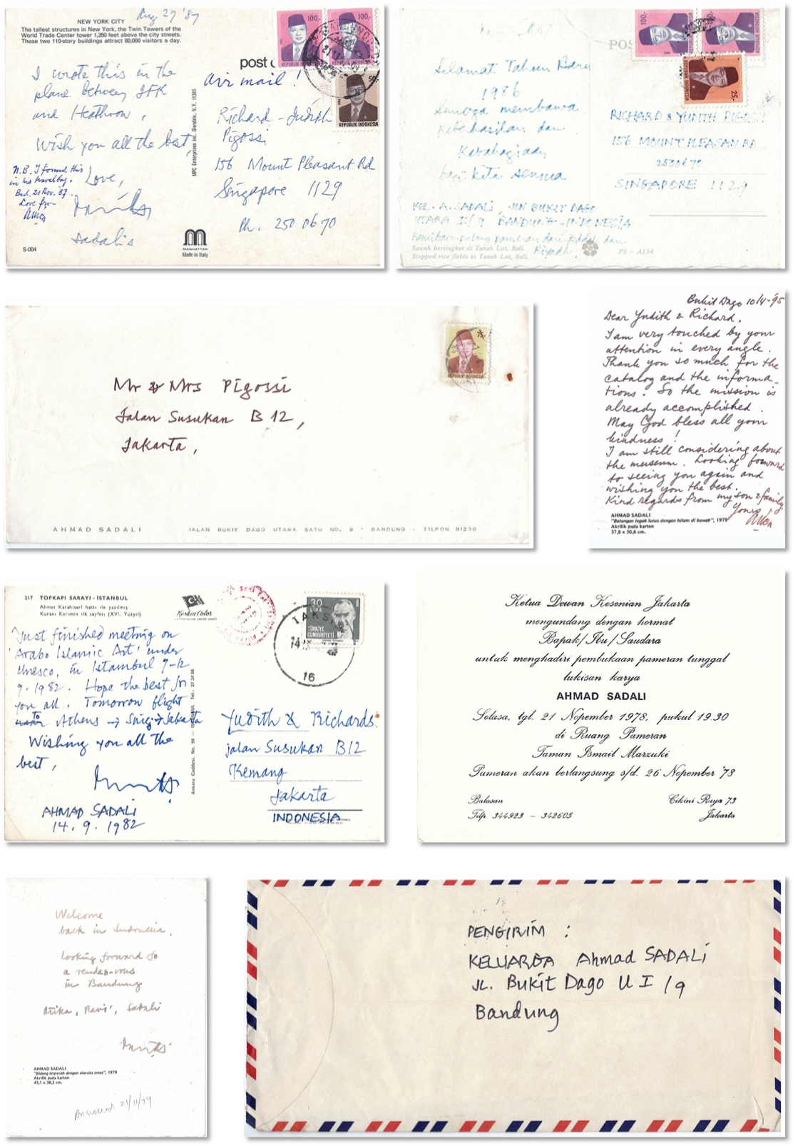 A collection of handwritten cards and letters from the artist Ahmad Sadali to Richard and Judith.