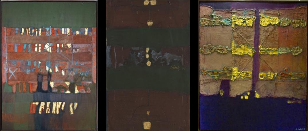Several major pieces belonging to the Pigossi collection. From top left:  Abstract  (1976),  Gunungan  (1980),  Bidang Berayat dan Bidang Terpecah  (1985),  Abstract  (1978),  Untitled  (1974),  Untitled  (1975)