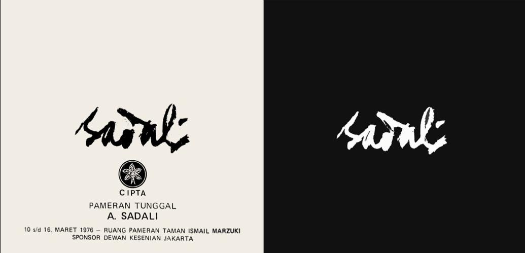 Catalogue cover of Sadali's 3rd solo exhibition at Cipta gallery, Taman Ismail Marzuki, sponsored Jakarta Art Council (Dewan Kesenian Jakarta)