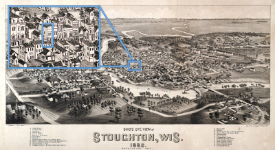 1883 Bird's Eye View of Stoughton. The building in the box is 120 E. Main St.