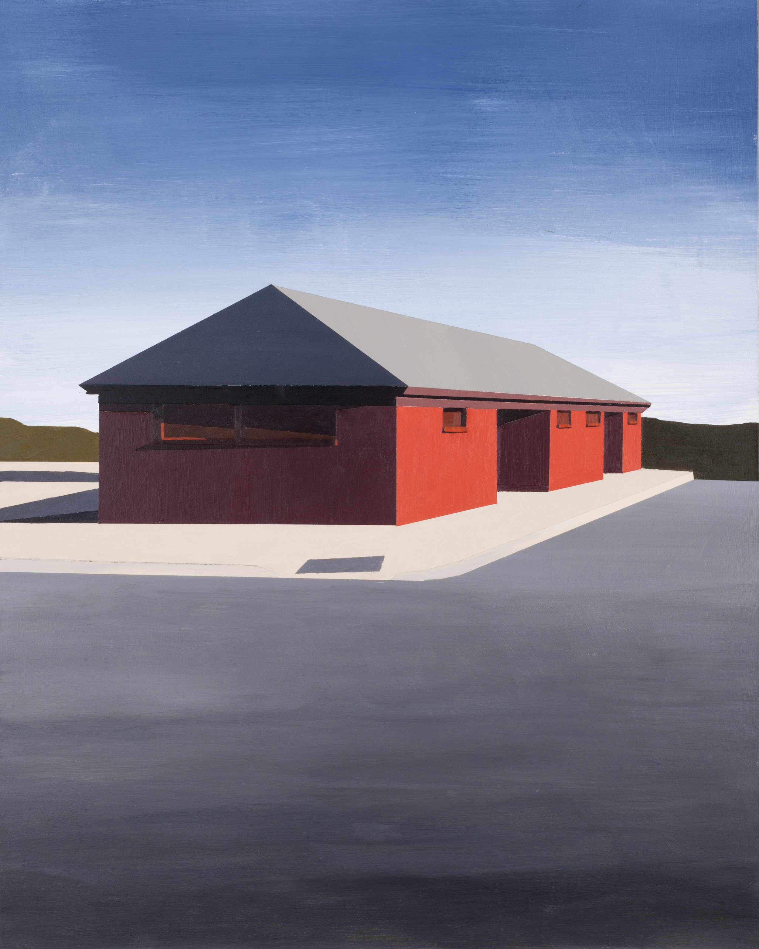 "Red Building, 2016, Acrylic on panel. 20"" x 16"""