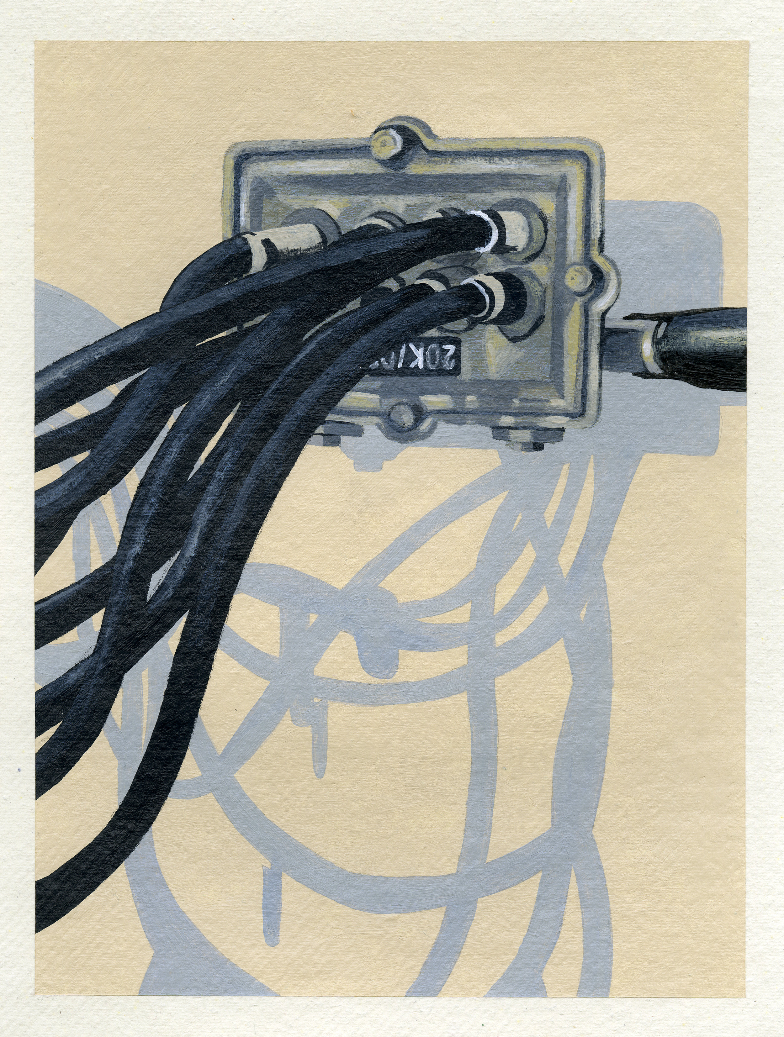 "Wires, 2016, Acrylic on paper. 12"" x 8"""