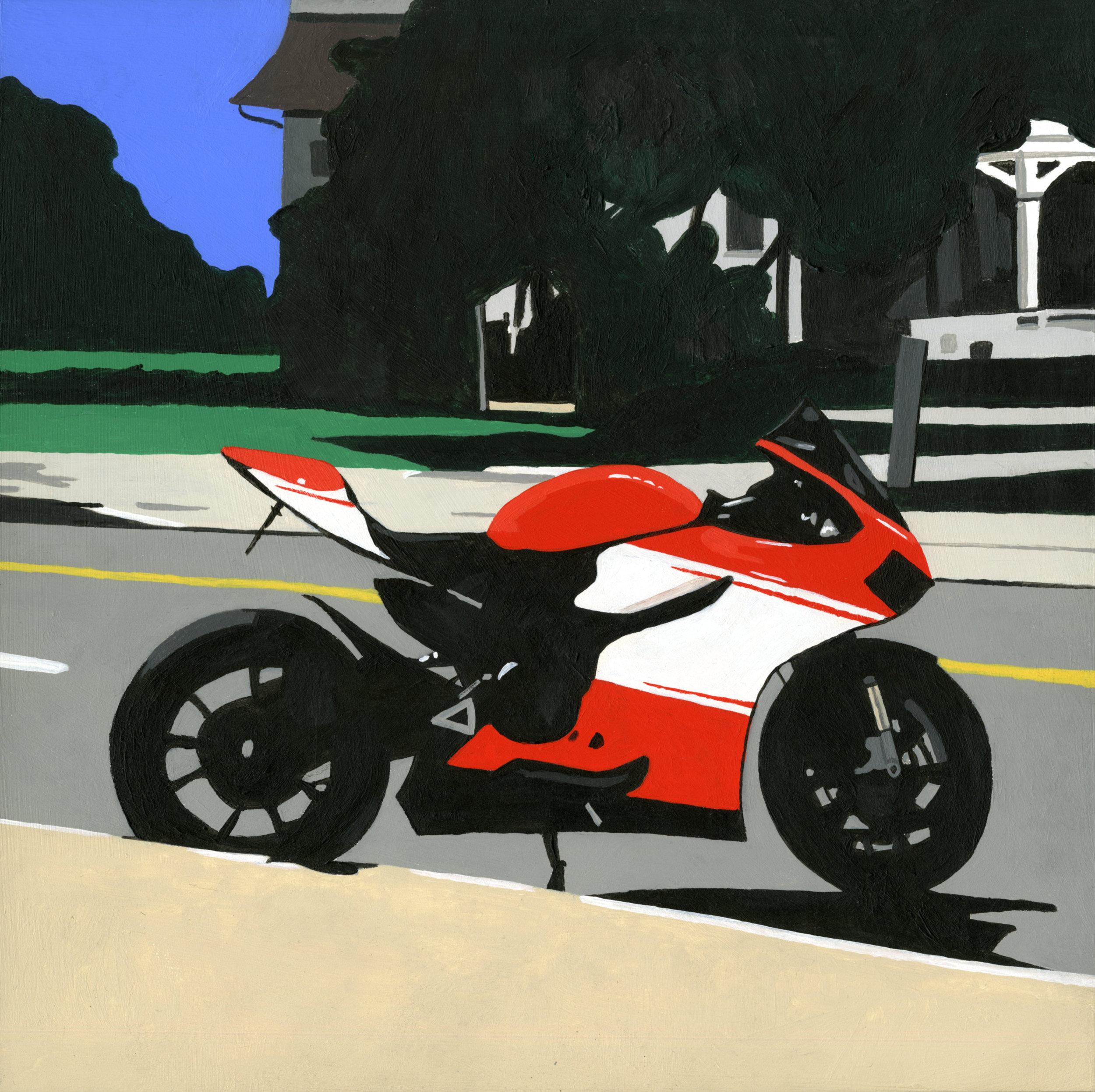"Ducati, 2015, Acrylic on panel. 12"" x 12"""