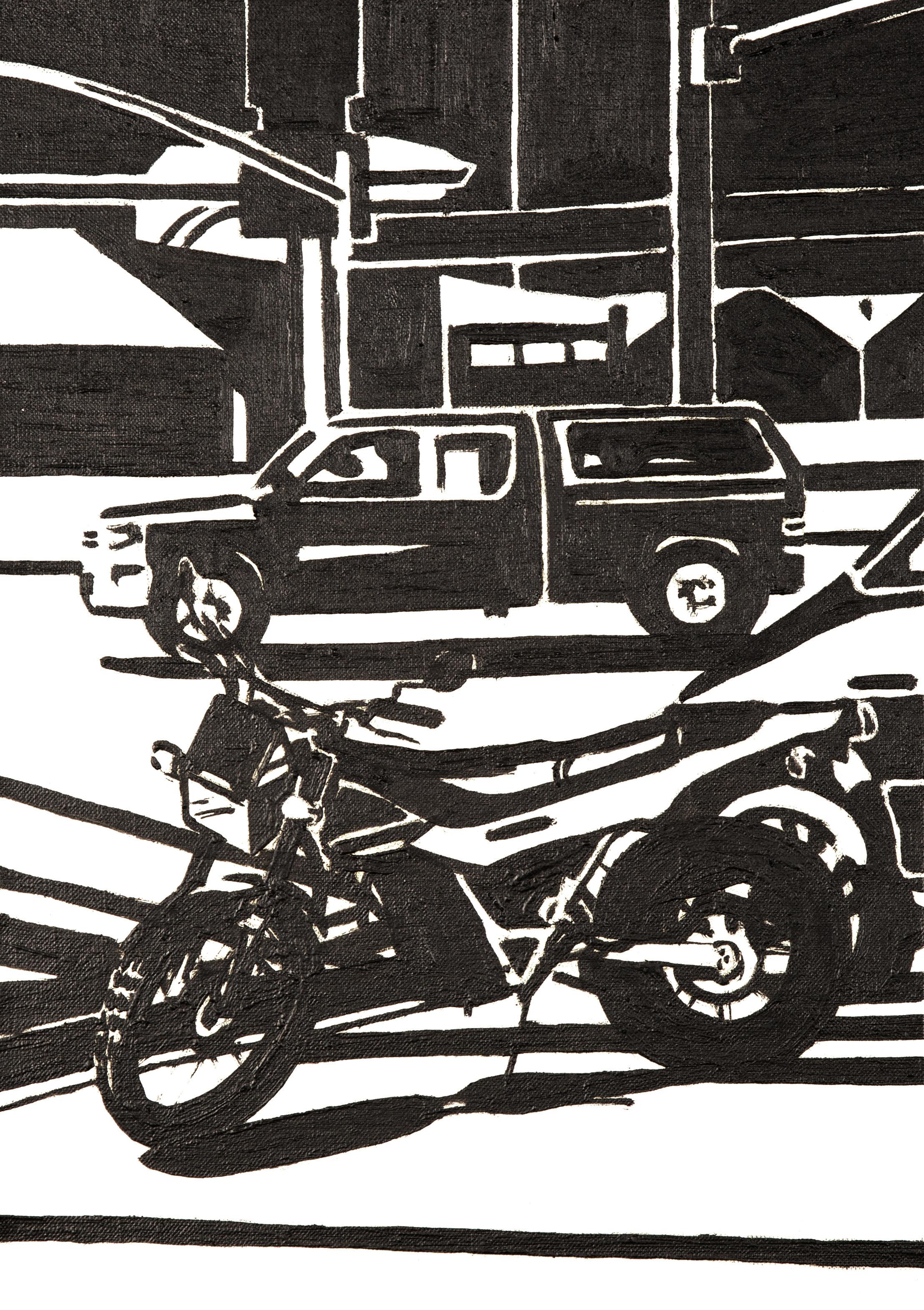 Bike and car, 2016, Oil on linen