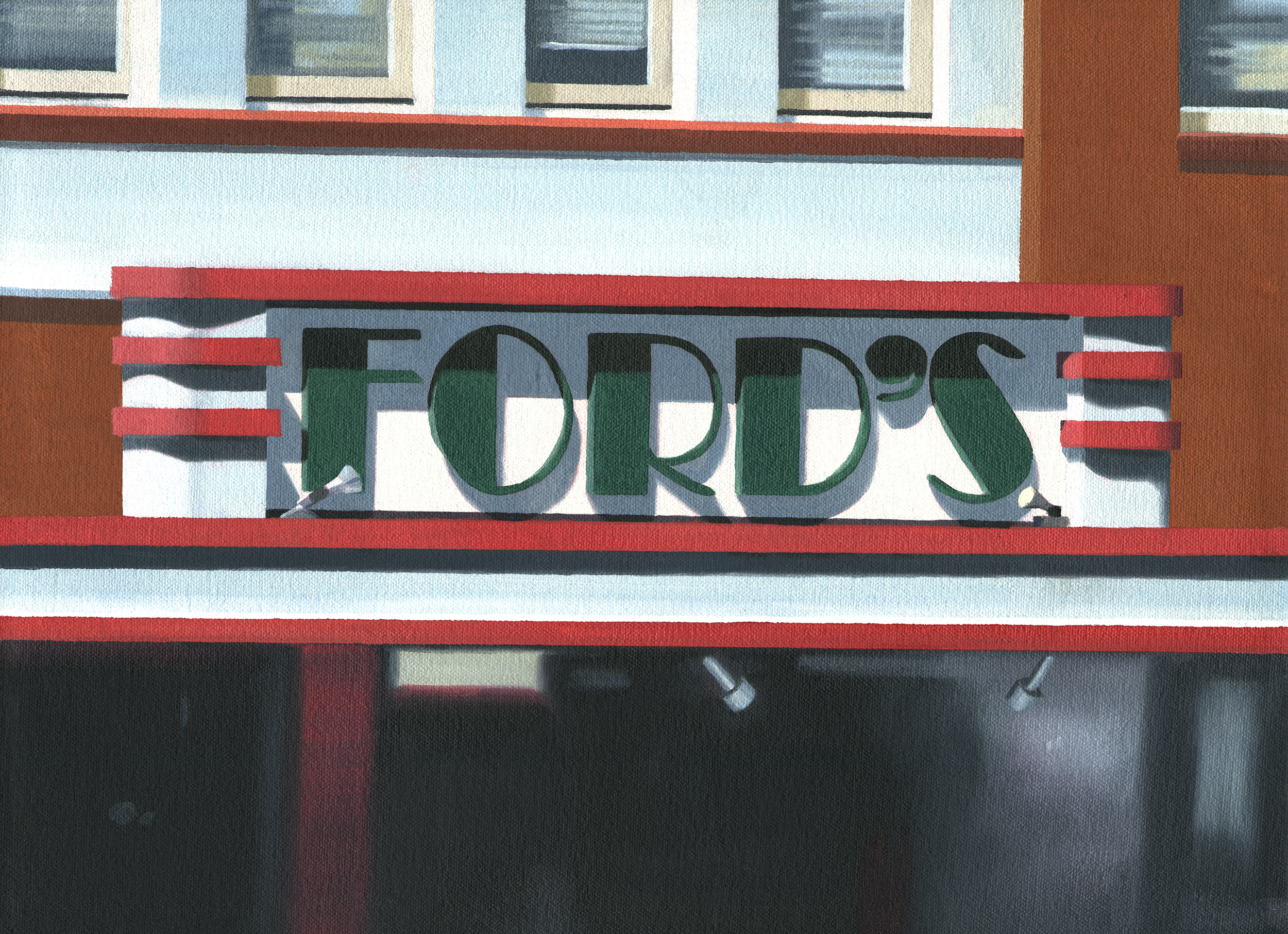 "Ford's, 2017. Oil on canvas 15"" x 11"""