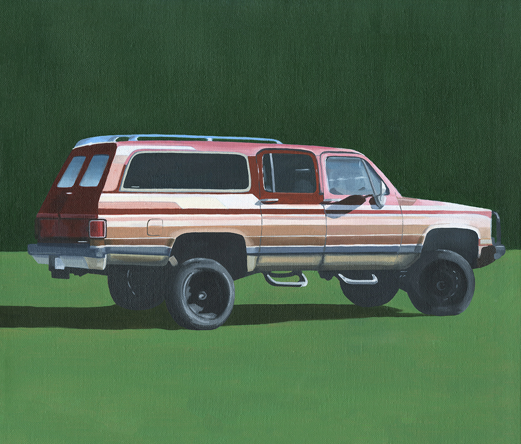 "Red Truck, 2017. Oil on linen 14"" x 12"""