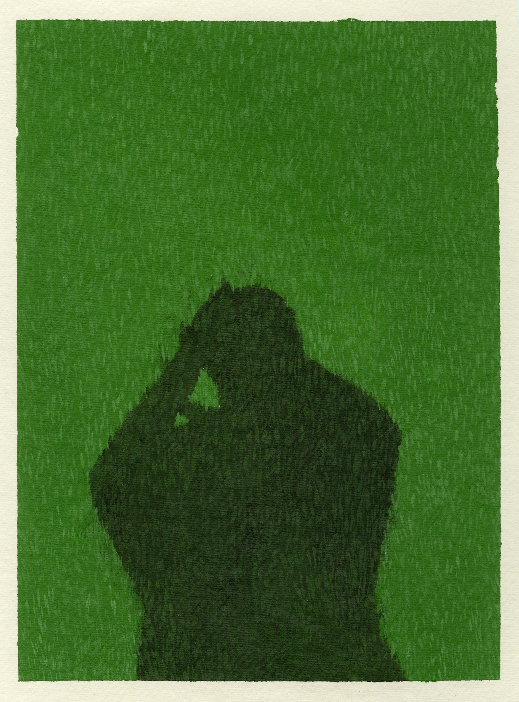 "Shadow, 2017. Acrylic on paper, 12"" x 8"""