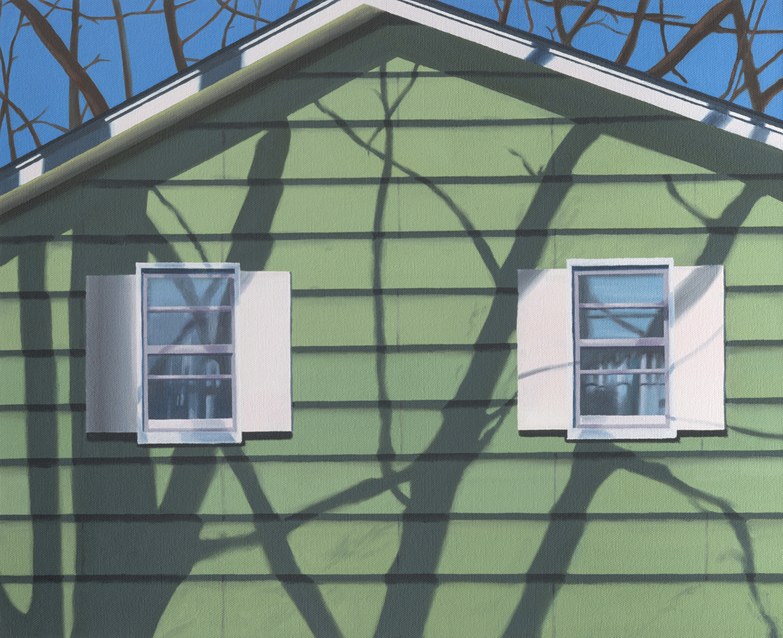 "Green Shadows, 2017. Oil on canvas 20"" x 16"""