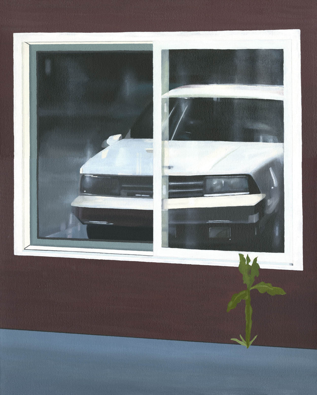 "Car Reflection, 2017. Oil on canvas 20"" x 16"""