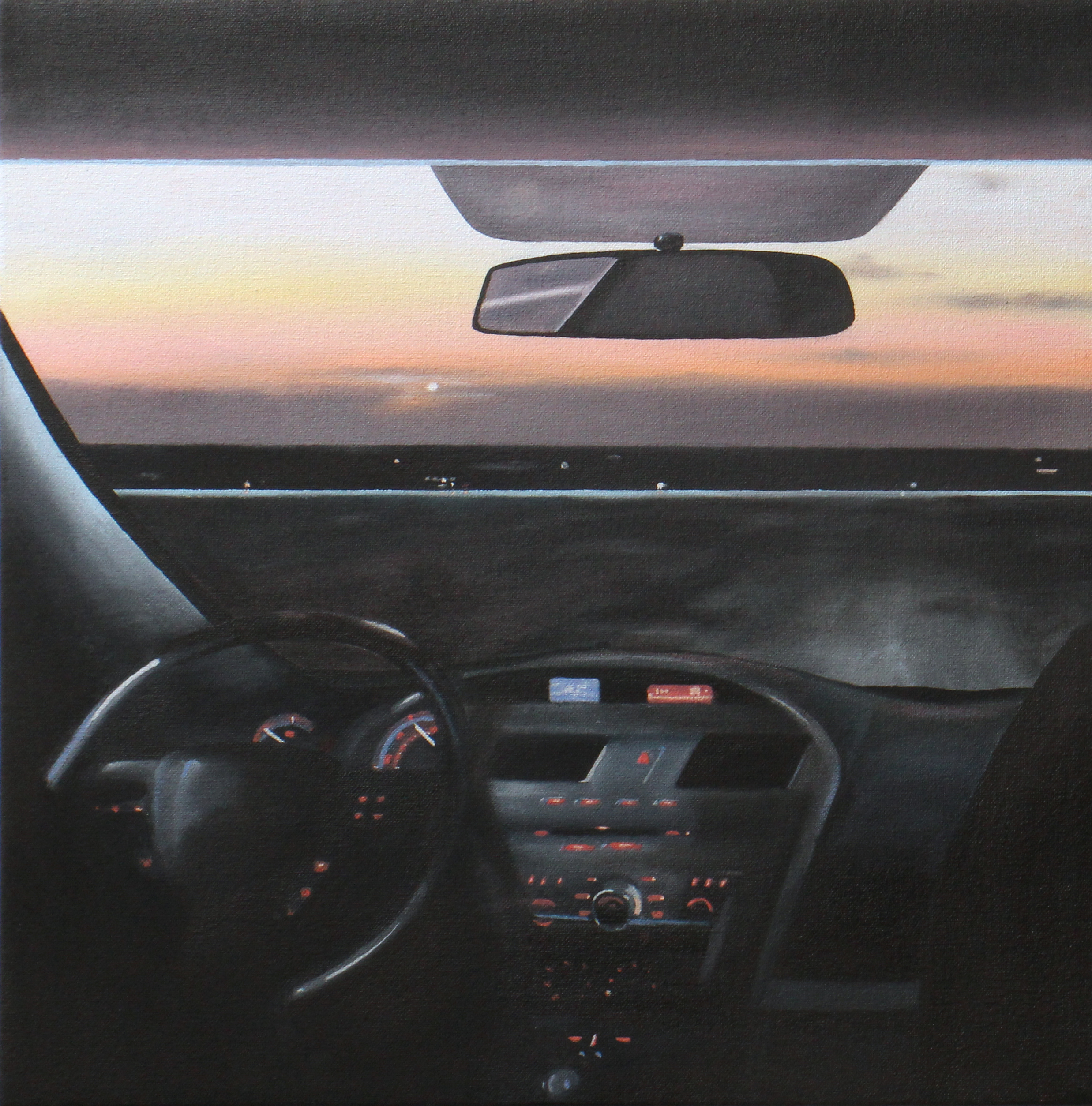 "Dashboard, 2017. Oil on canvas 14"" x 14"""