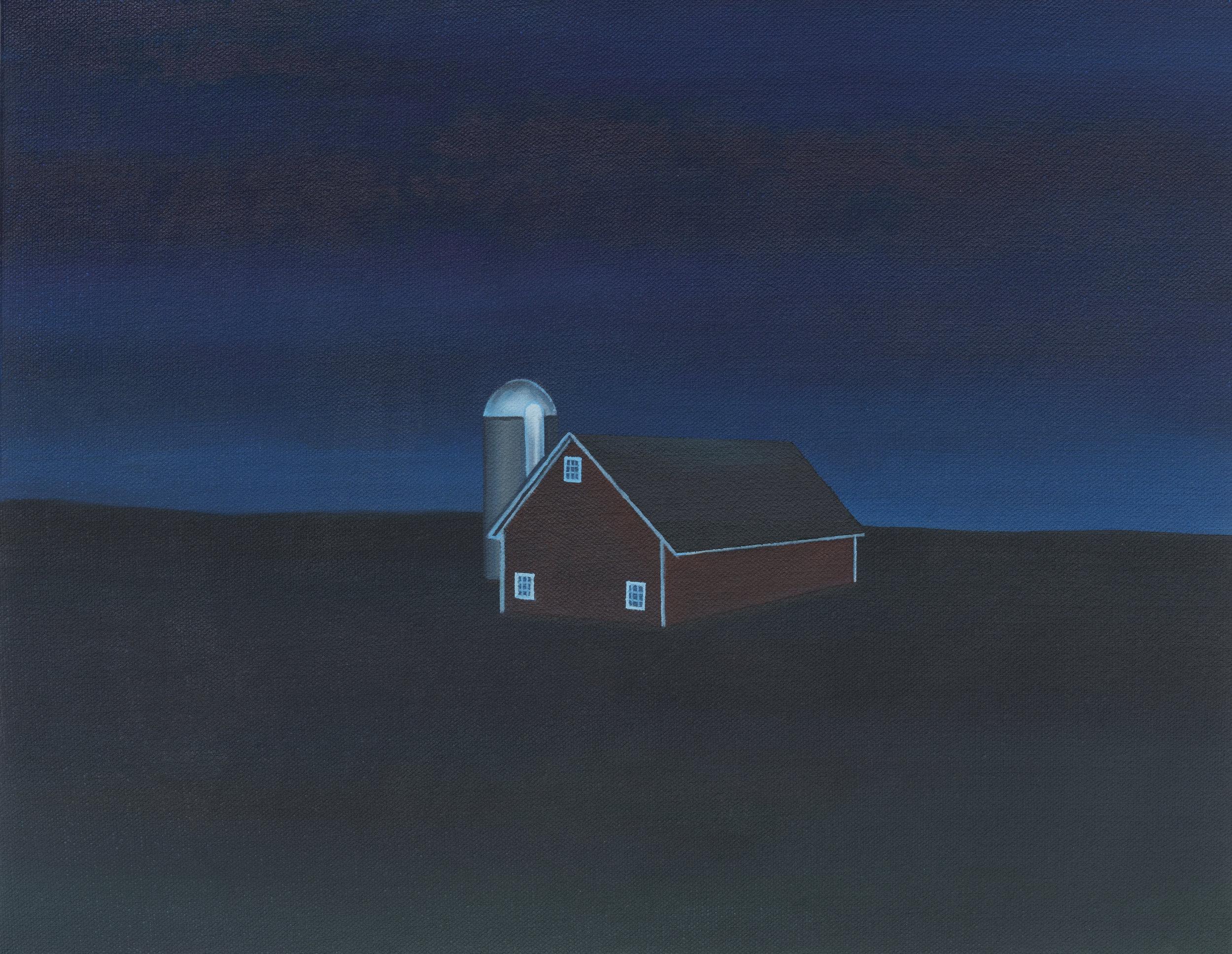 "Night Barn, 2018. Oil on canvas 11"" x 14"""