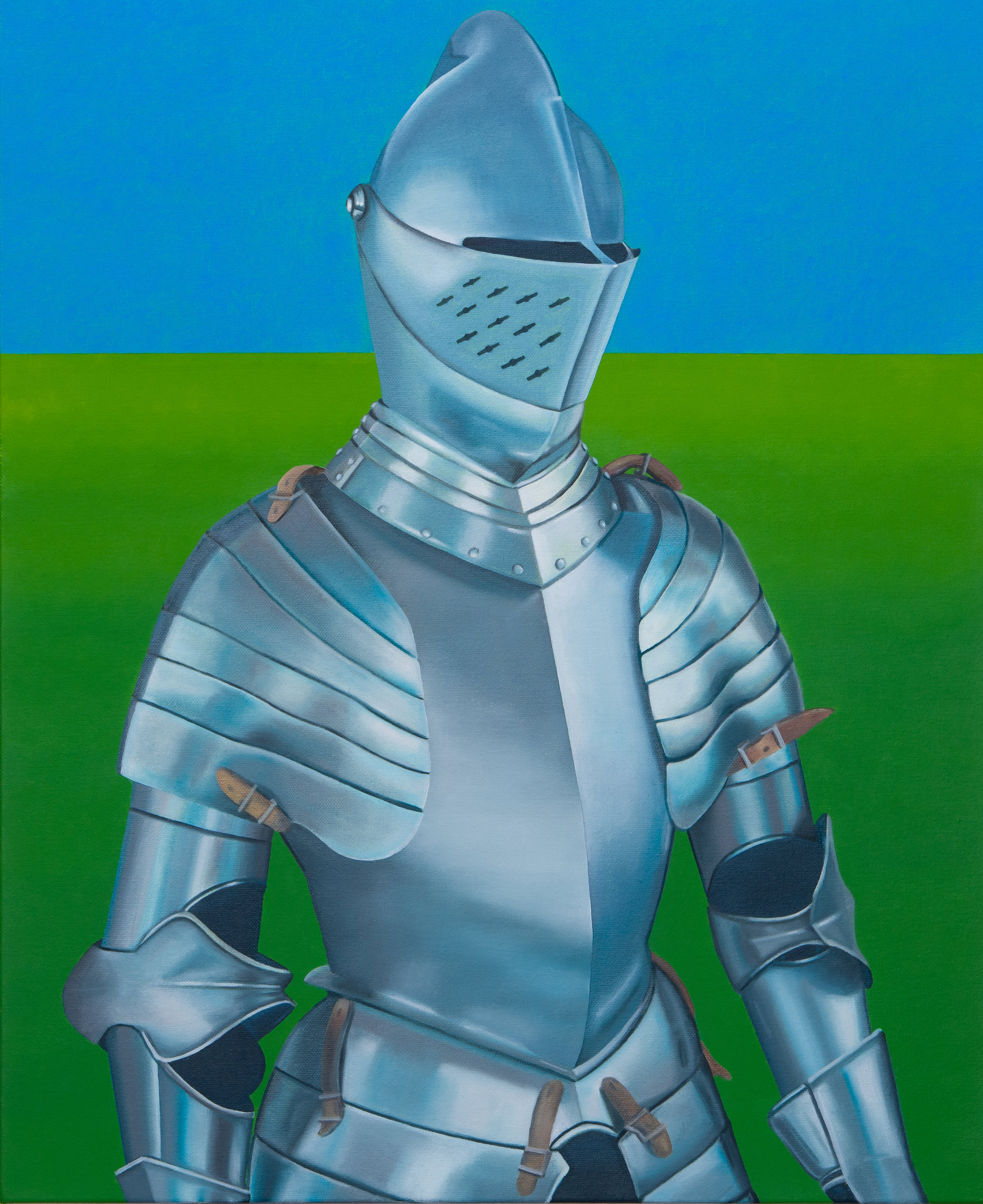 "Suit Of Armour In Field, 2019. Oil on canvas 20"" x 16"""
