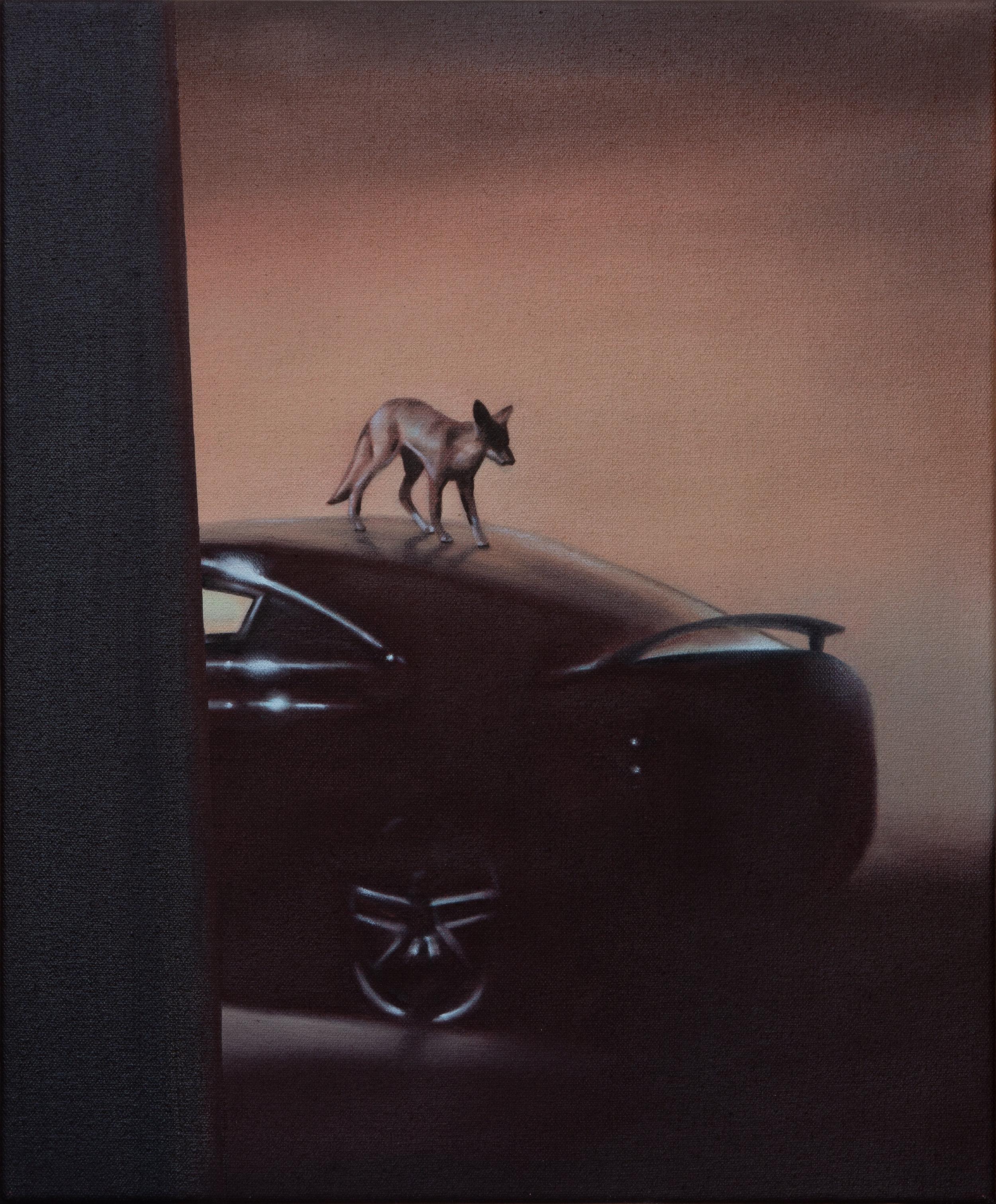"""Night Fox, 2019. Oil on canvas 12"""" x 10"""""""