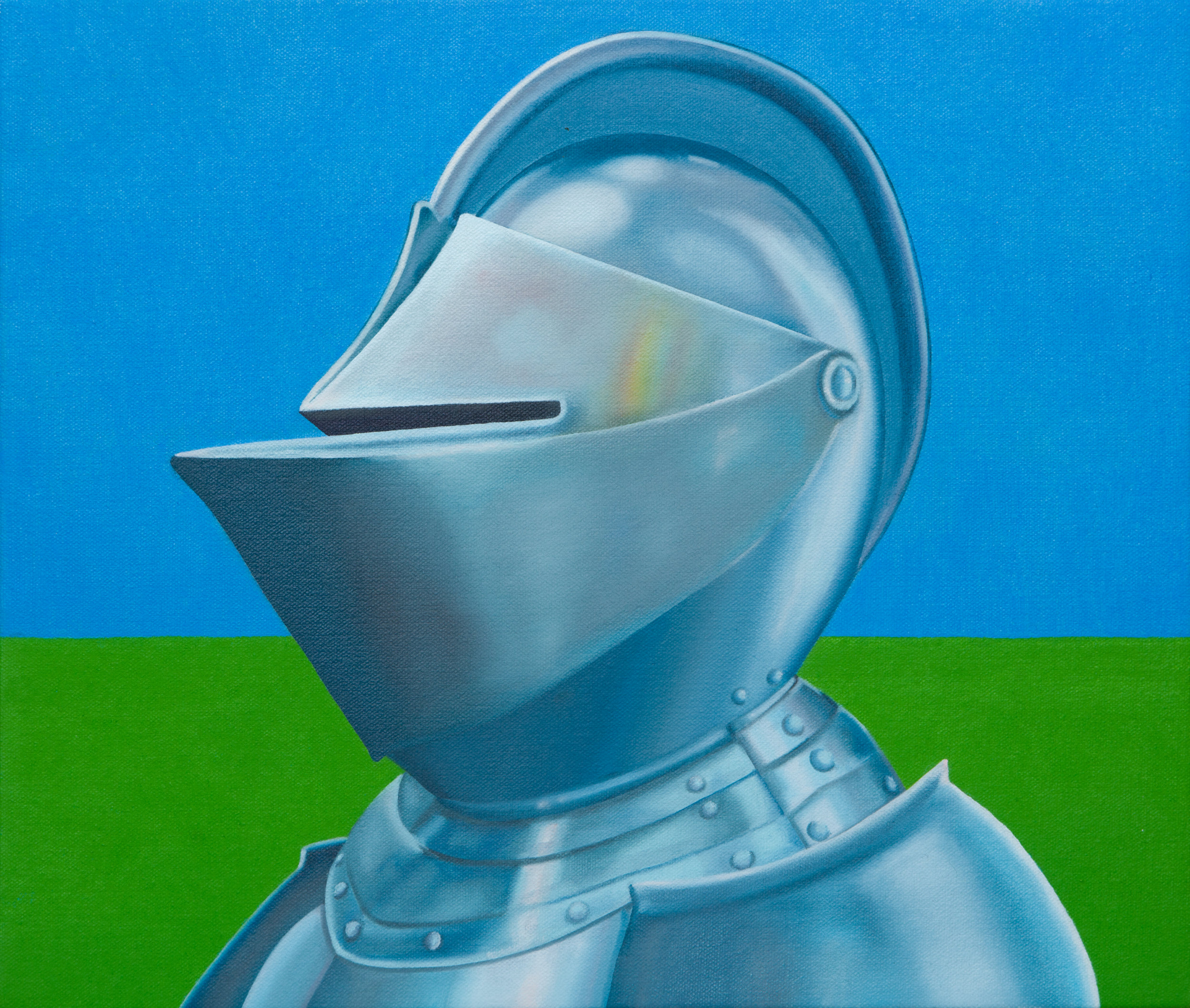 "Suit Of Armour Bust In Field, 2019. Oil on canvas 14"" x 12"""