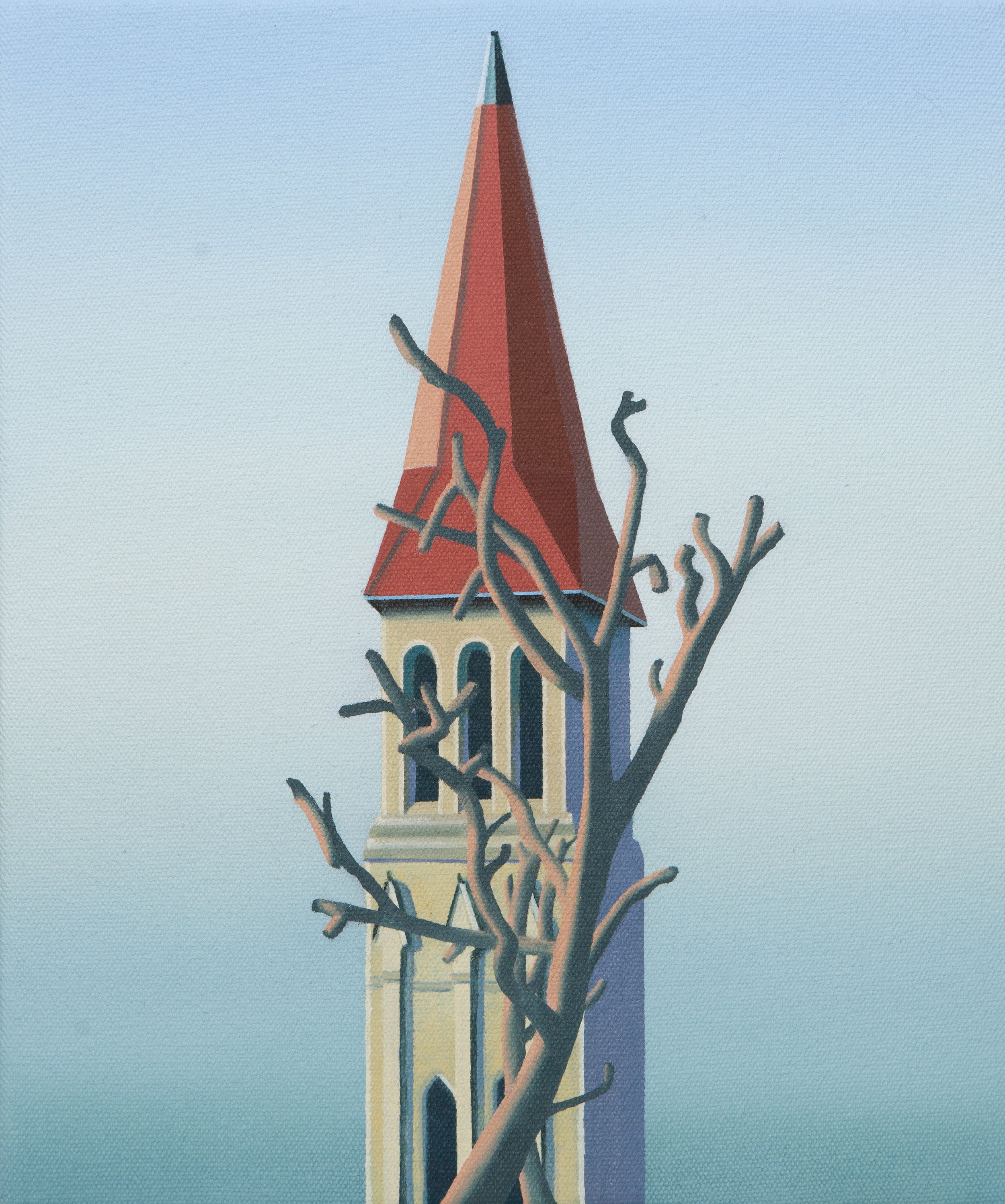"""Steeple & Tree, 2019. Oil on canvas 12"""" x 10"""""""