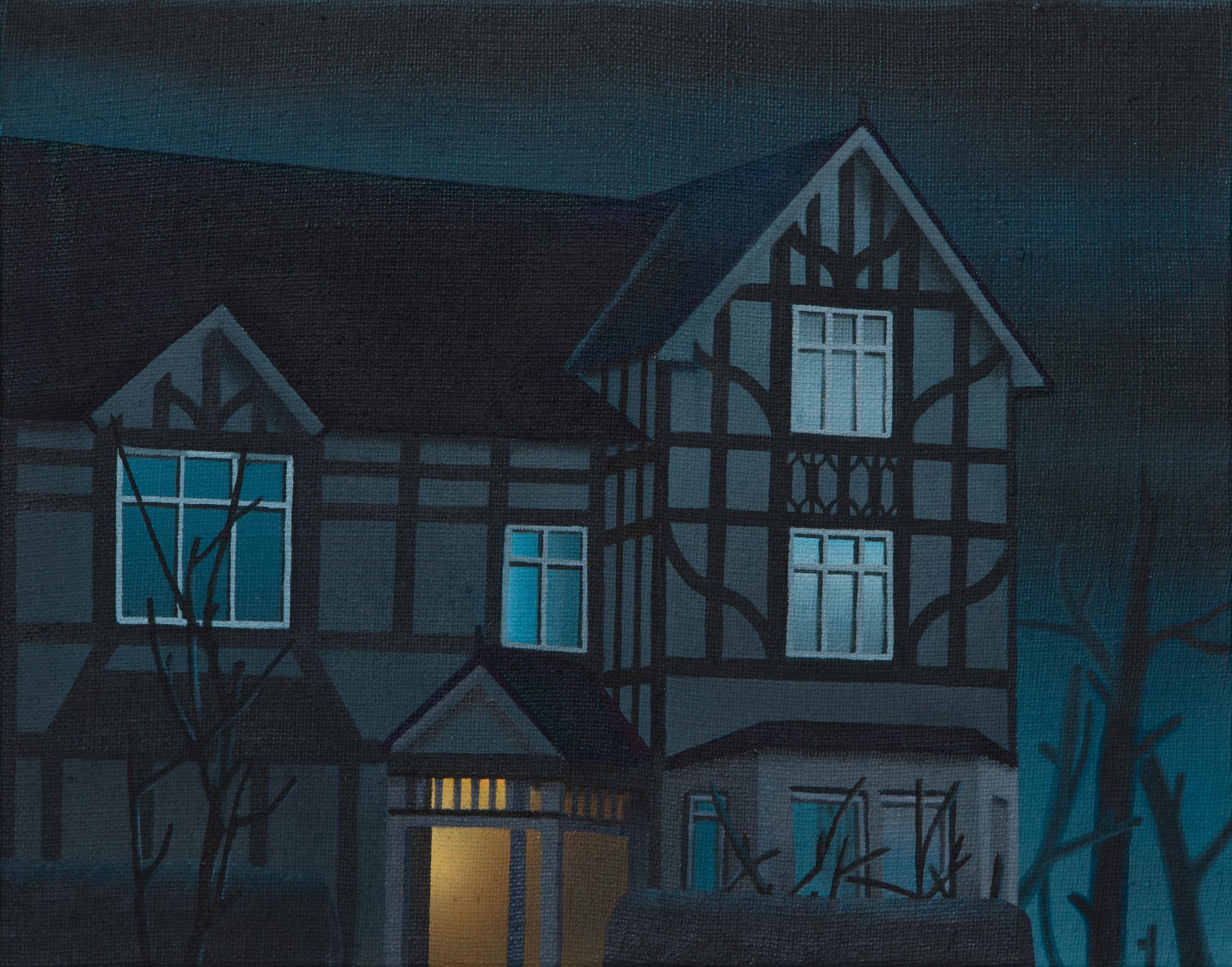 """Night House, 2019. Oil on linen 10"""" x 12.5"""""""