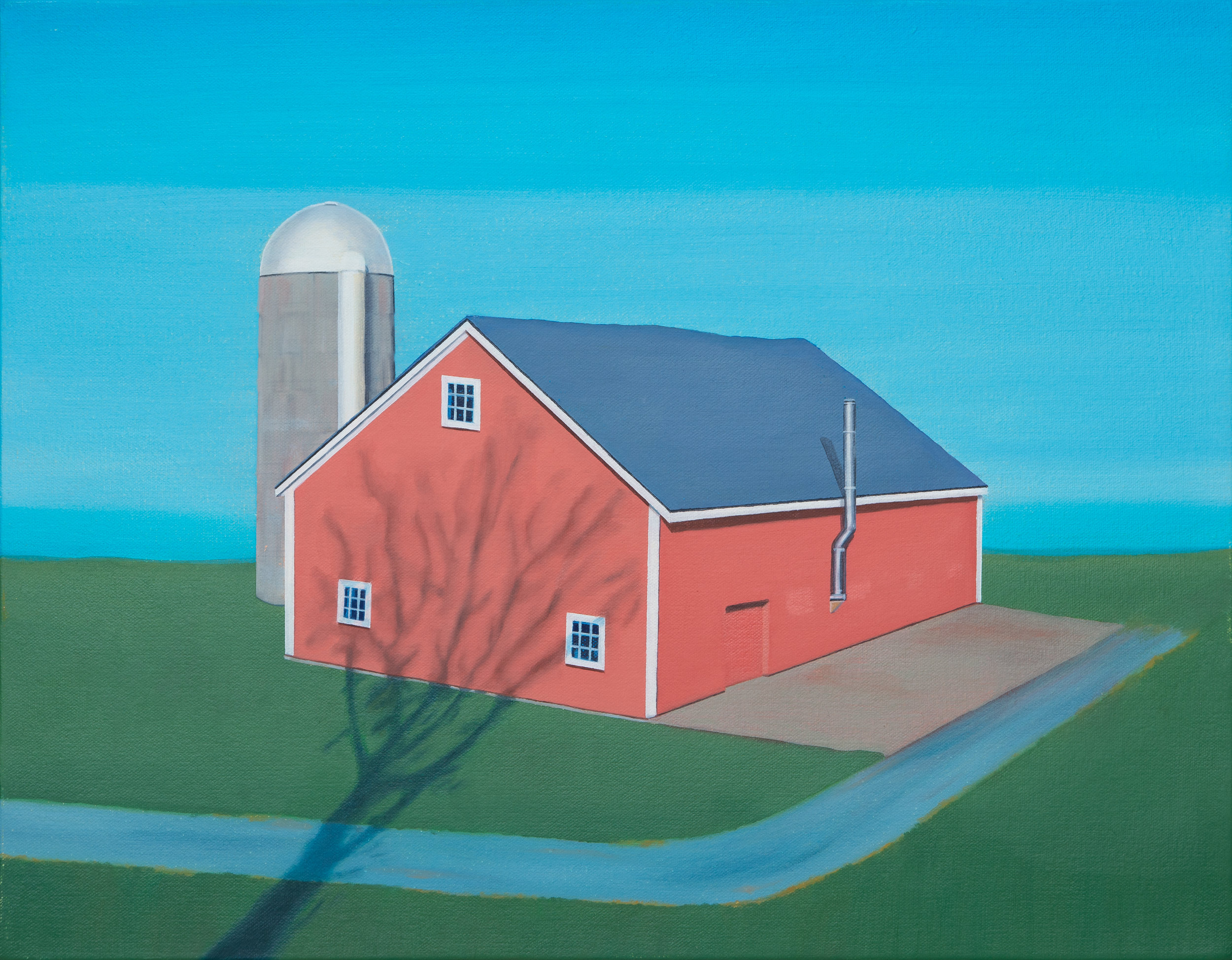 """Barn With Silo, 2018. Oil on canvas 14"""" x 18"""""""