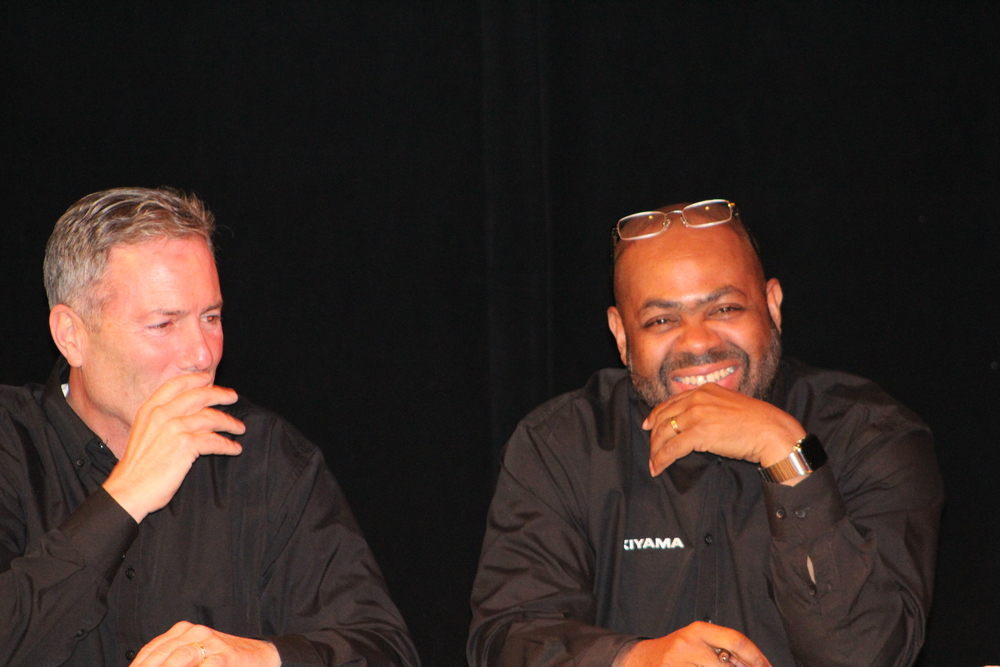 Bob Pellegrino and Mike Jefferson share a laugh at Lyric Hall