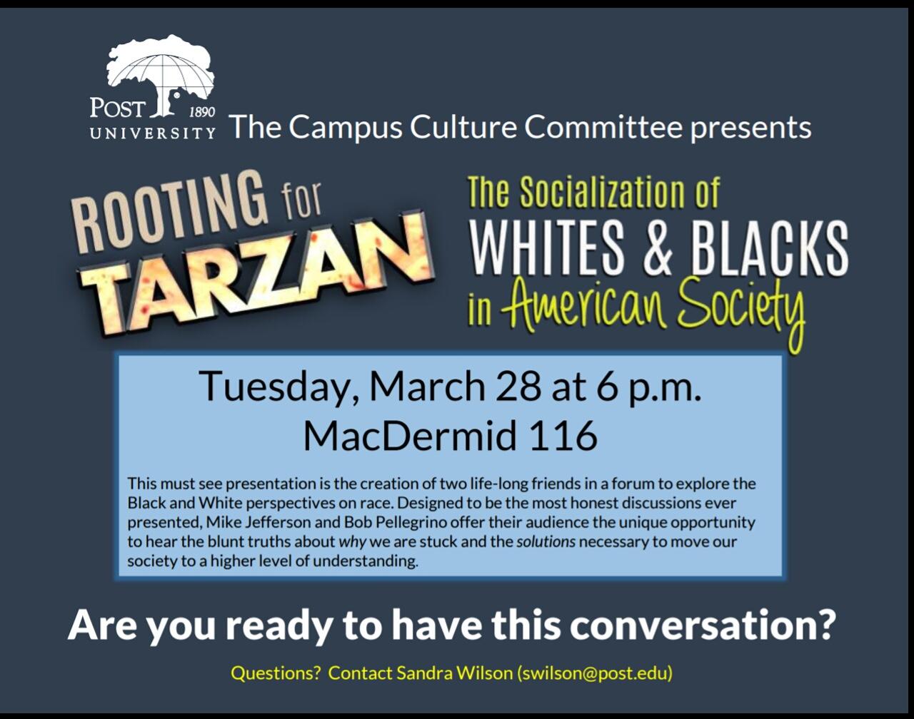 Rooting for Tarzan presents at Post University