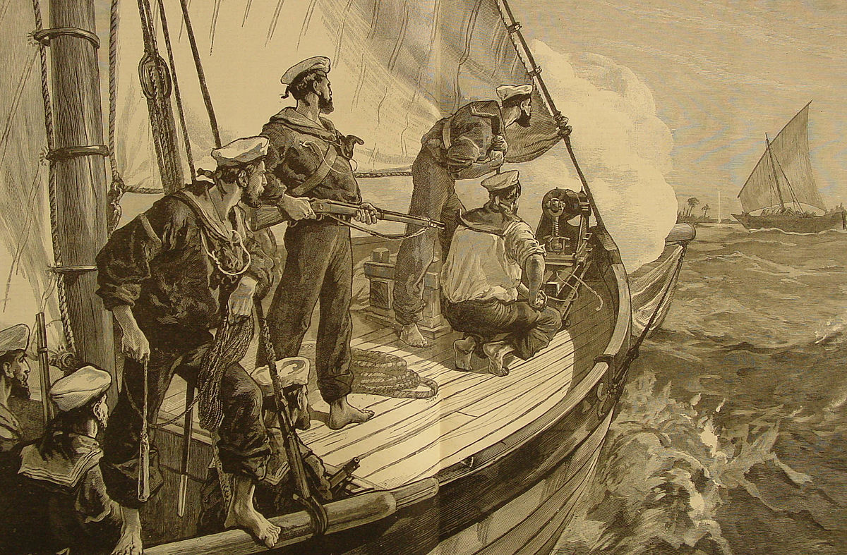 Pinnace attached to HMS London chasing a Dhow in 1881.By The Illustrated London News - from The Illustrated London News December 17, 1881., Public Domain.
