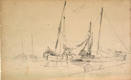 A small 18th century yawl-rigged fishing craft,By Brierly, Oswald Walter, Sir - Public Domain.