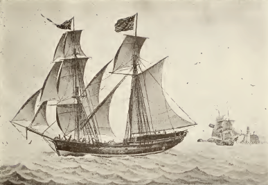 """Plate Nr. 89 as shown in """"The Sailing Ships of New England 1607-1907"""" caption: Brigantine """"Experiment,"""" of Newburyport, 114 Tons, Built at Amesbury in 1803. From a water-color painted in 1807 by Nicolay Carmillieri.By John Robinson, George Francis Dow - The Sailing Ships of New England 1607-1907, Public Domain."""