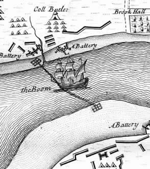 A boom blocking the   River Foyle   during the   Siege of Londonderry  .