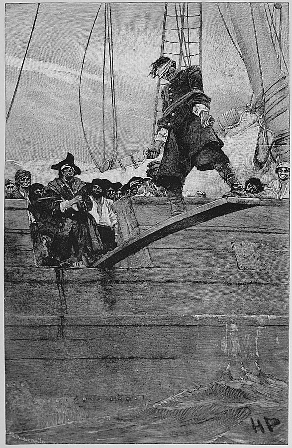 "Pirates' captive walking the plank. By Howard Pyle - Pyle, Howard; Johnson, Merle De Vore (ed) (1921) ""Buccaneers and Marooners of the Spanish Main"" in Howard Pyle's Book of Pirates: Fiction, Fact & Fancy Concerning the Buccaneers & Marooners of the Spanish Main, New York, United States, and London, United Kingdom: Harper and Brothers, pp. Plate facing p. 36, Public Domain."
