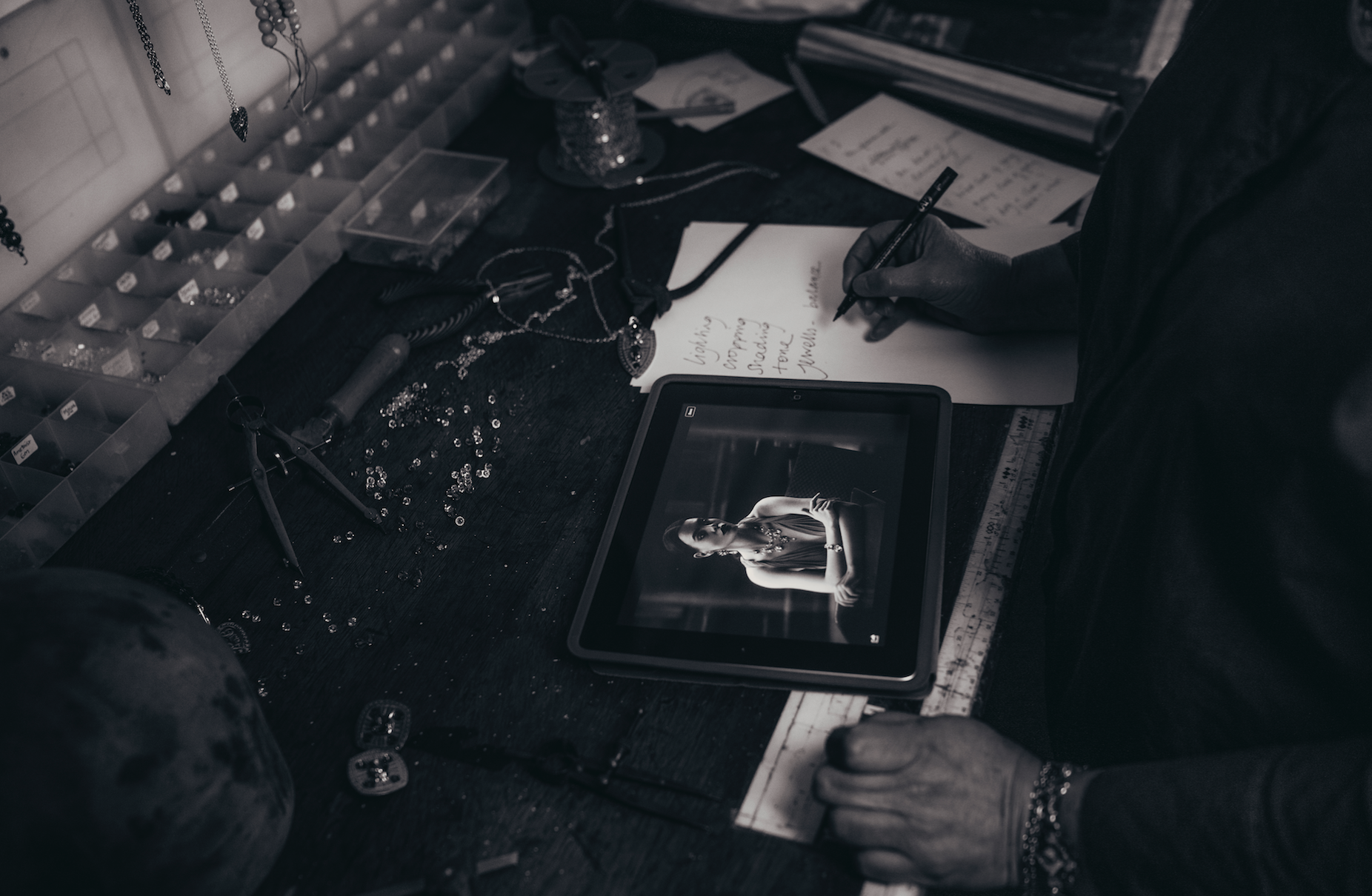 Behind the scenes at the Gill Clement studio.