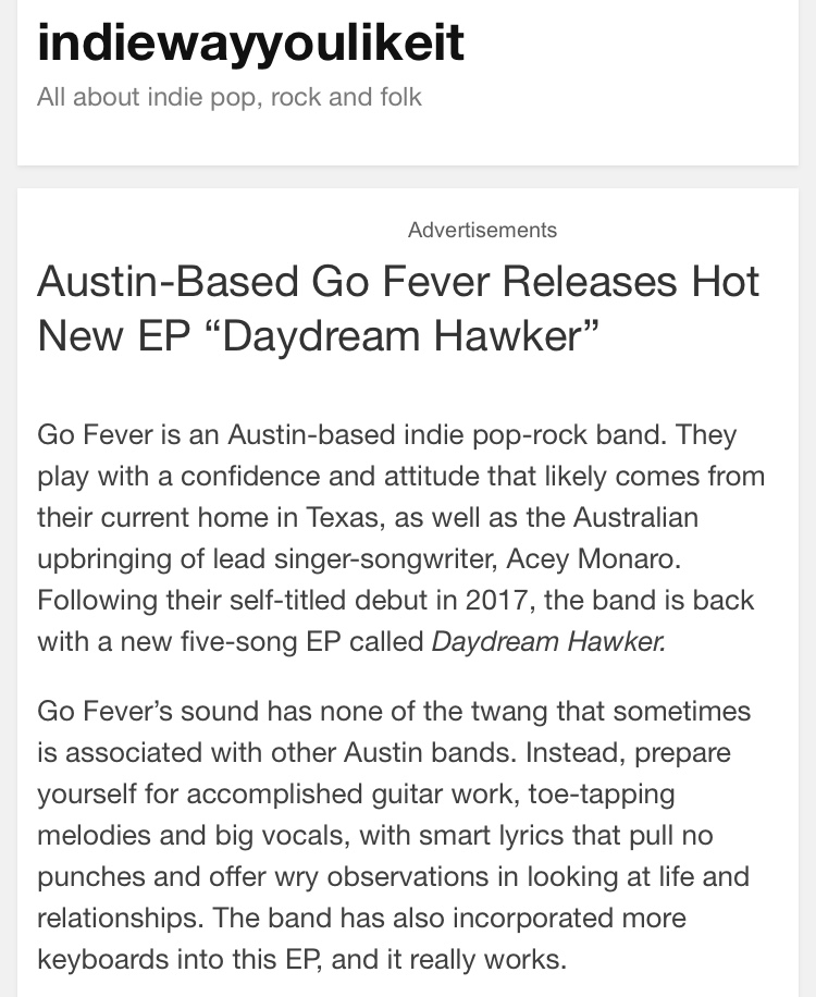 "Indiewayyoulikeit - ""…consistently excellent throughout — no wonder Daydream Hawker is quickly moving up the college charts!"""