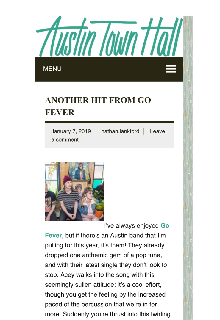 "Austin Town Hall Records - ""I've always enjoyed Go Fever, but if there's an Austin band that I'm pulling for this year, it's them! They already dropped one anthemic gem of a pop tune, and with their latest single they don't look to stop."""