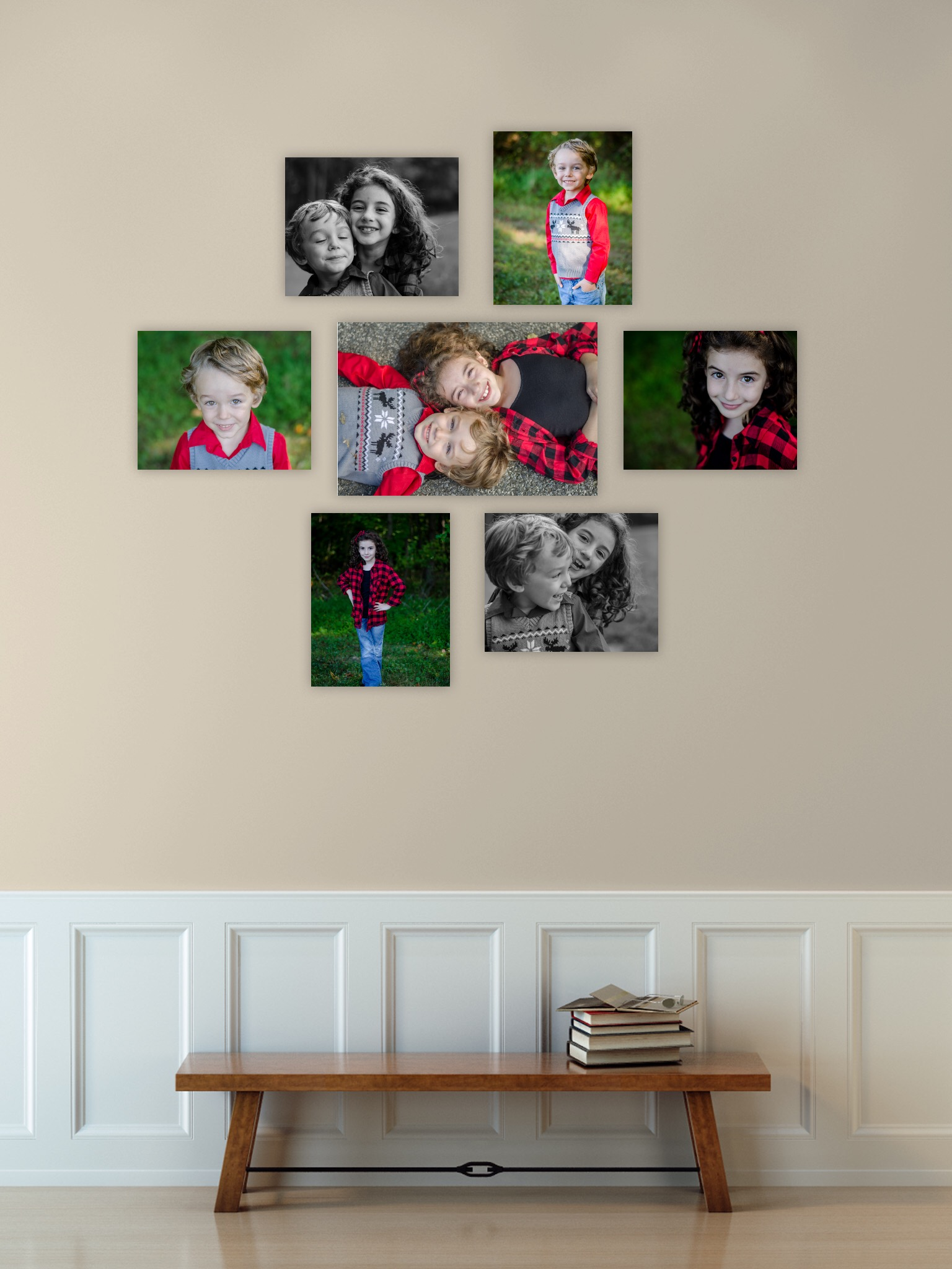 Children photographs wall gallery in southern pennsylvania