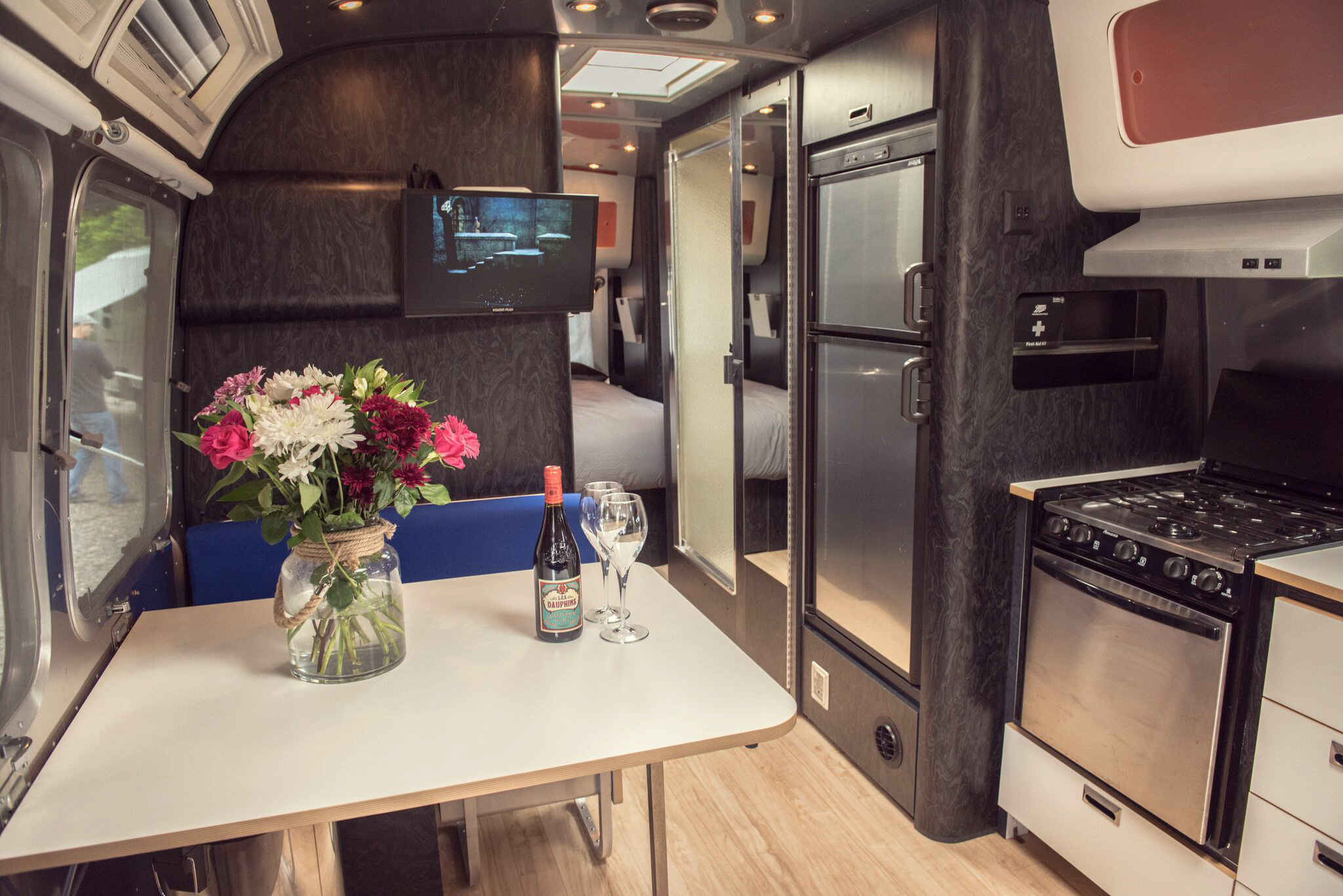 Copy of Hotel Bell Tent Accommodation Airstream Trailer Interior Kitchen