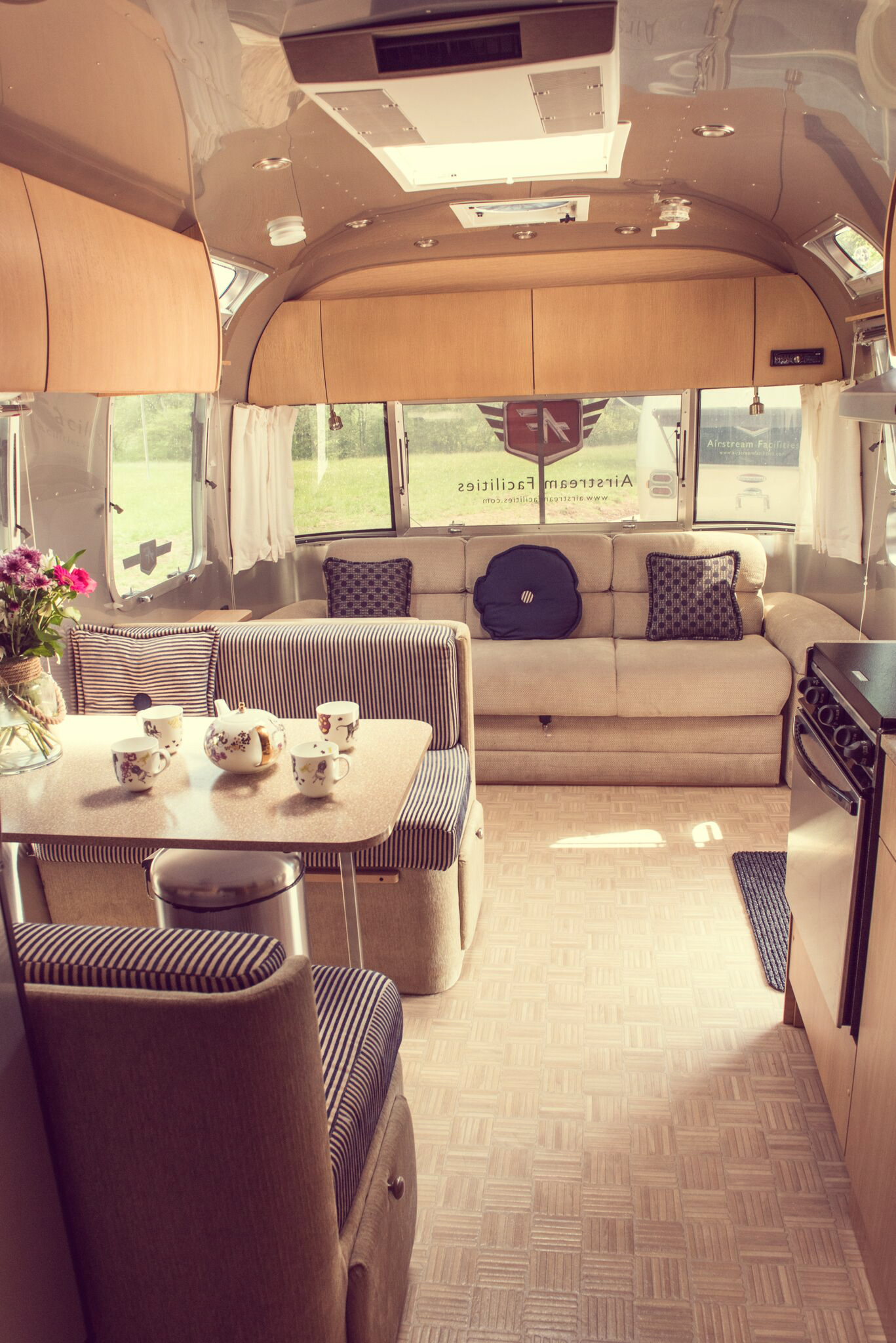Copy of Hotel Bell Tent Accommodation Airstream Trailer Interior Seating Area