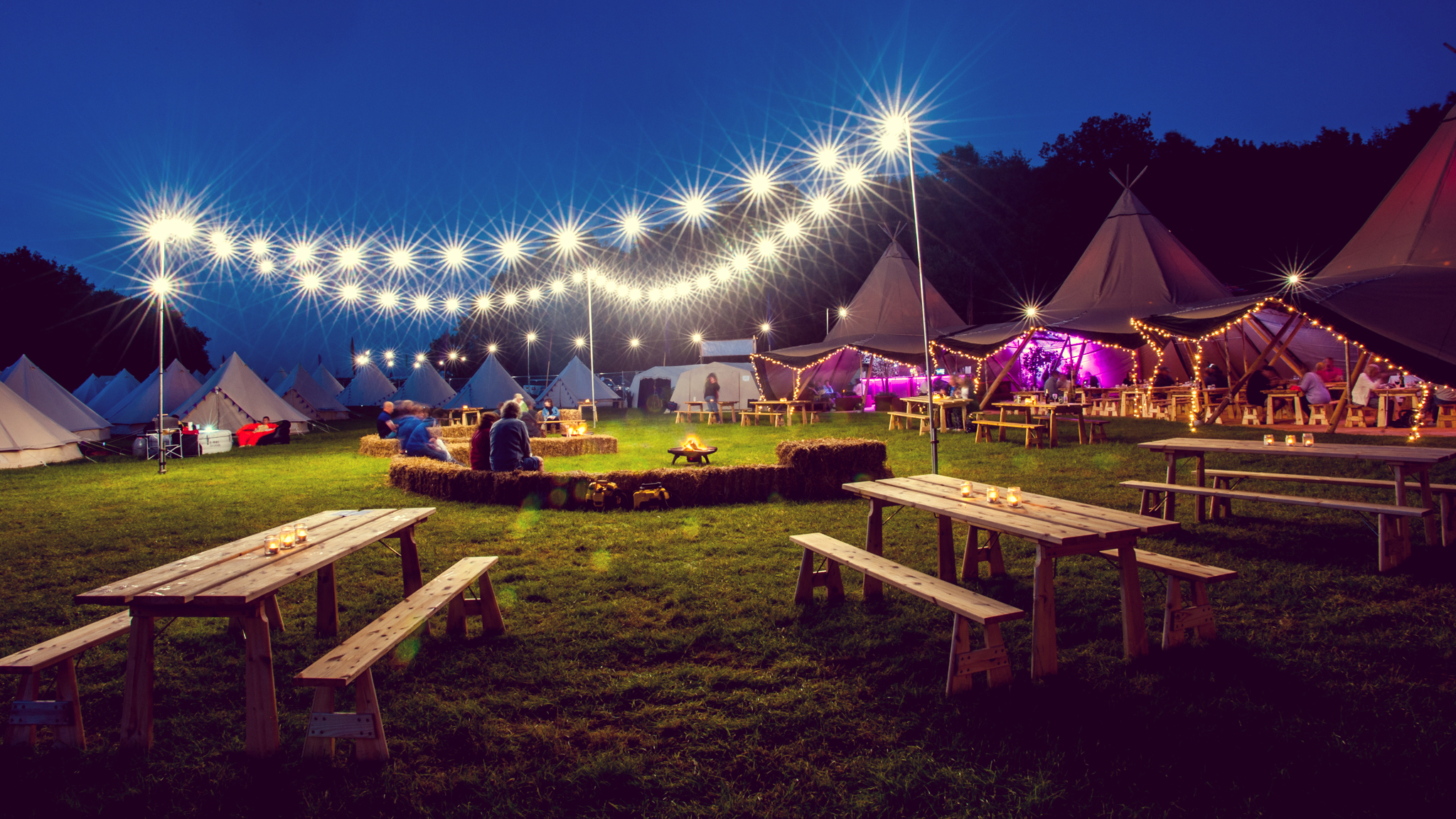 Hotel Bell Tent Accommodation Night Time Festoon Lights