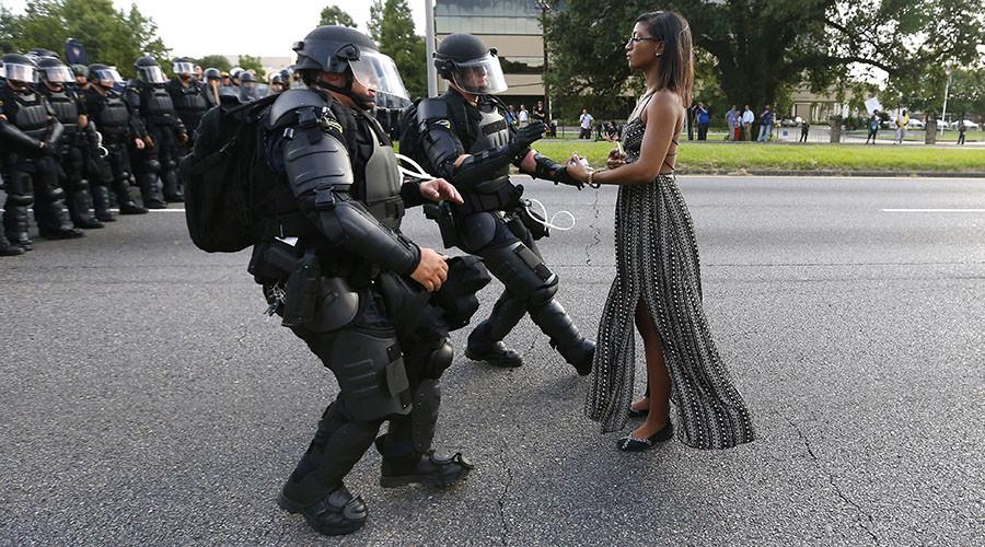 Ieshia Evans protesting in Baton Rouge. Photograph: Jonathan Bachman/Reuters