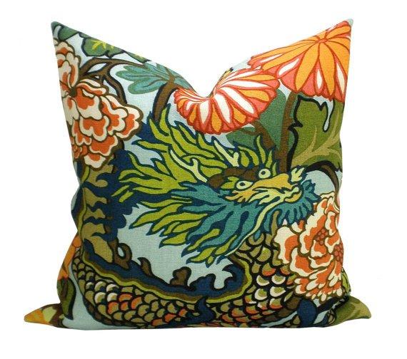 Schumacher Chiang Mai Aquamarine Pillow//sparkmodern