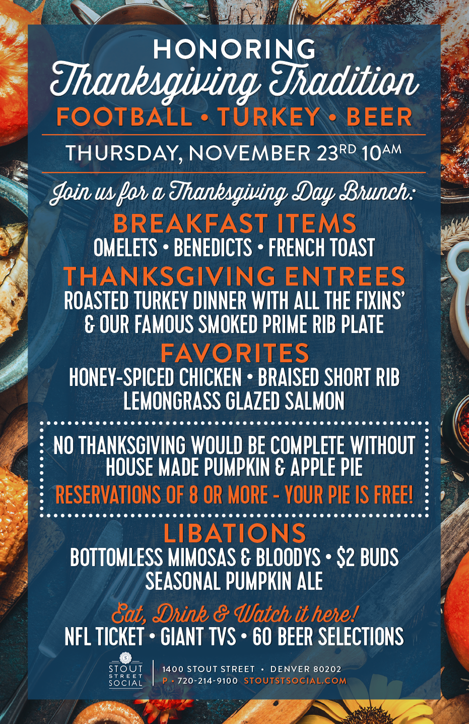 Join Us for Thanksgiving Day Brunch at Stout Street Social