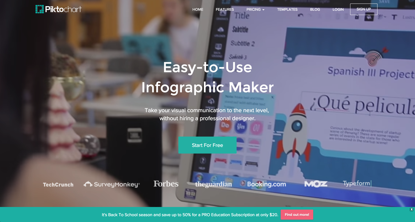Piktochart takes visual communication to the next level. Above: The company's homepage featuring the product being used in a Spanish classroom.