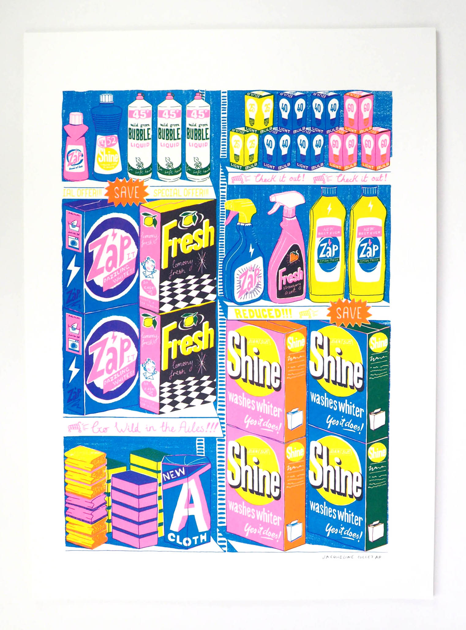 The final 3 colour screen print inspired by 90's product packaging!