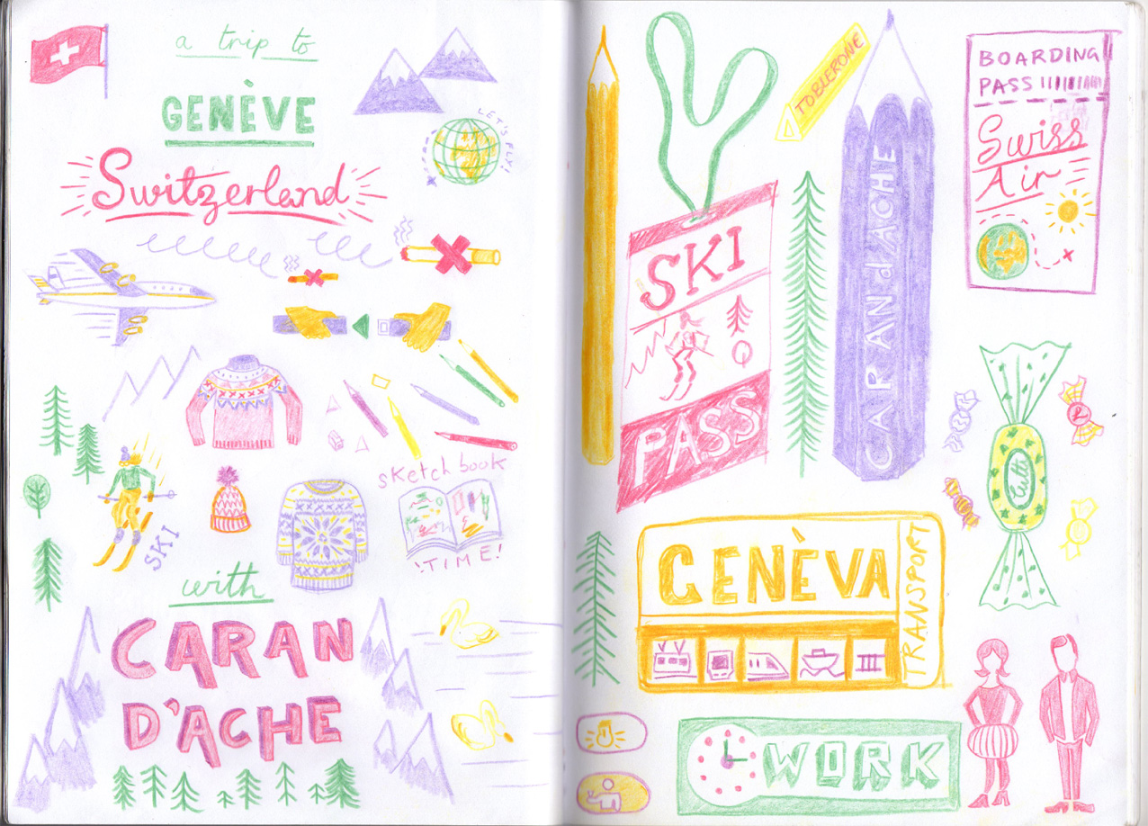 Here is the sketchbook spread that I was working on while on the trip! This is all drawn using Supracolor Soft pencils!