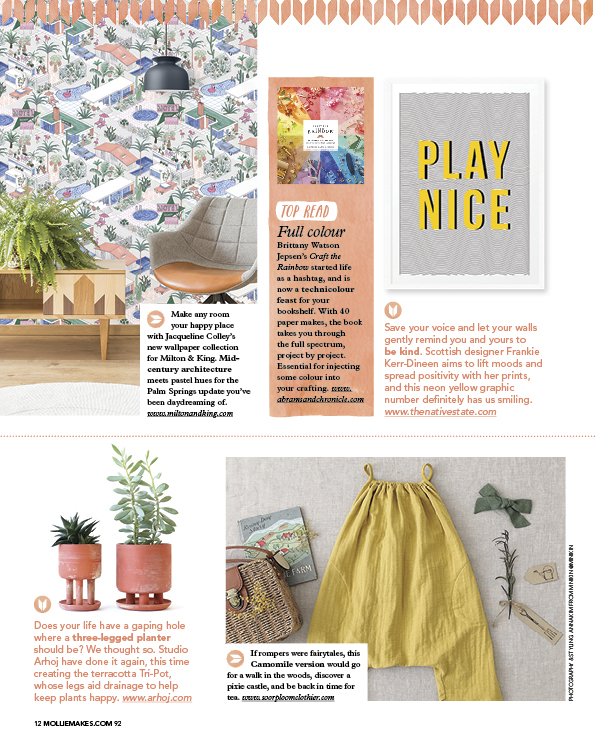 Mollie Makes Mag - Featured; Collaboration with Milton & King Wallpaper, Palm Springs Design
