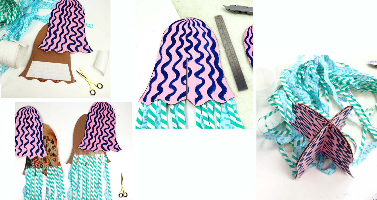 Steps to making a cardboard and paper painted jellyfish!