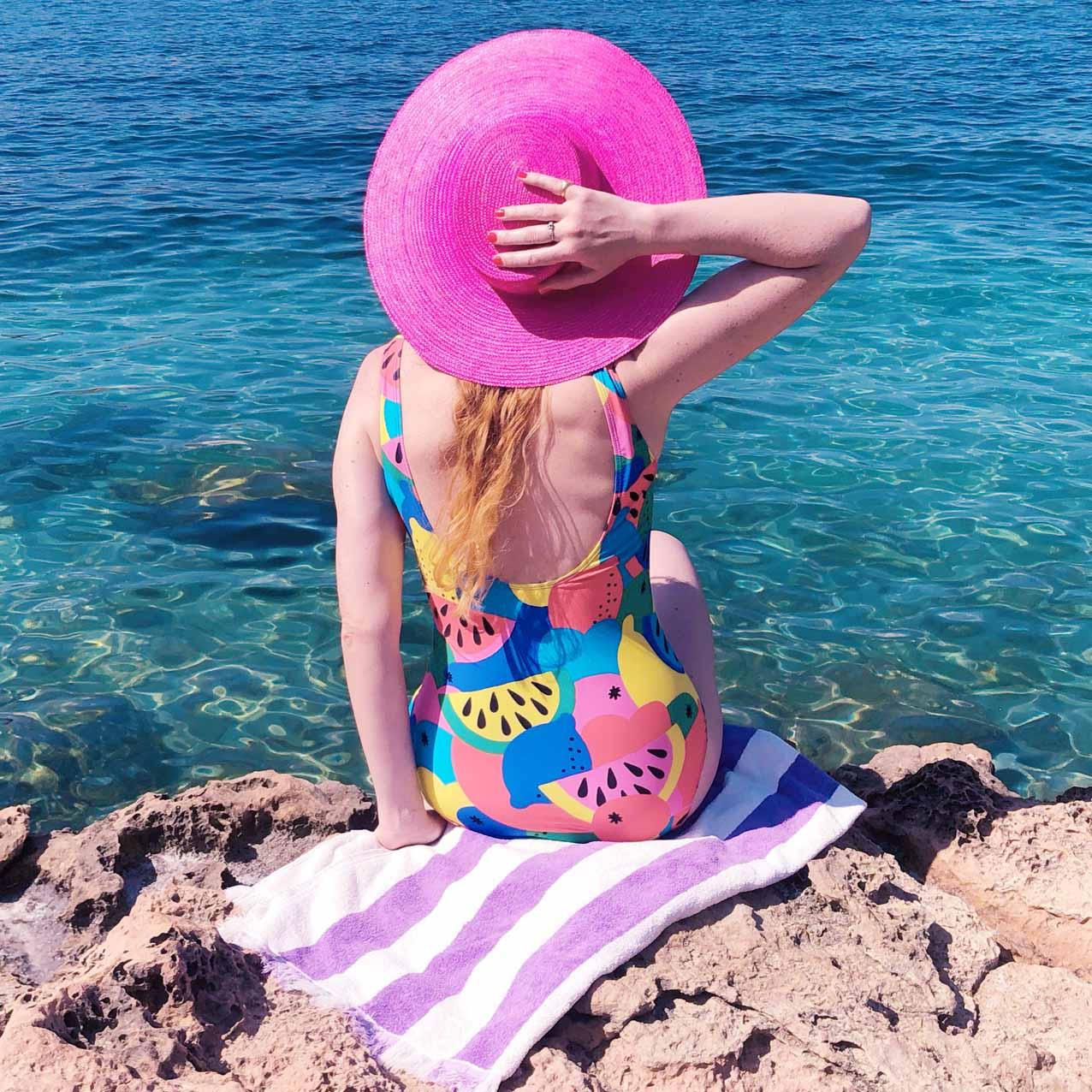 Wearing my Batoko Swimsuit at Cala Gracioneta!