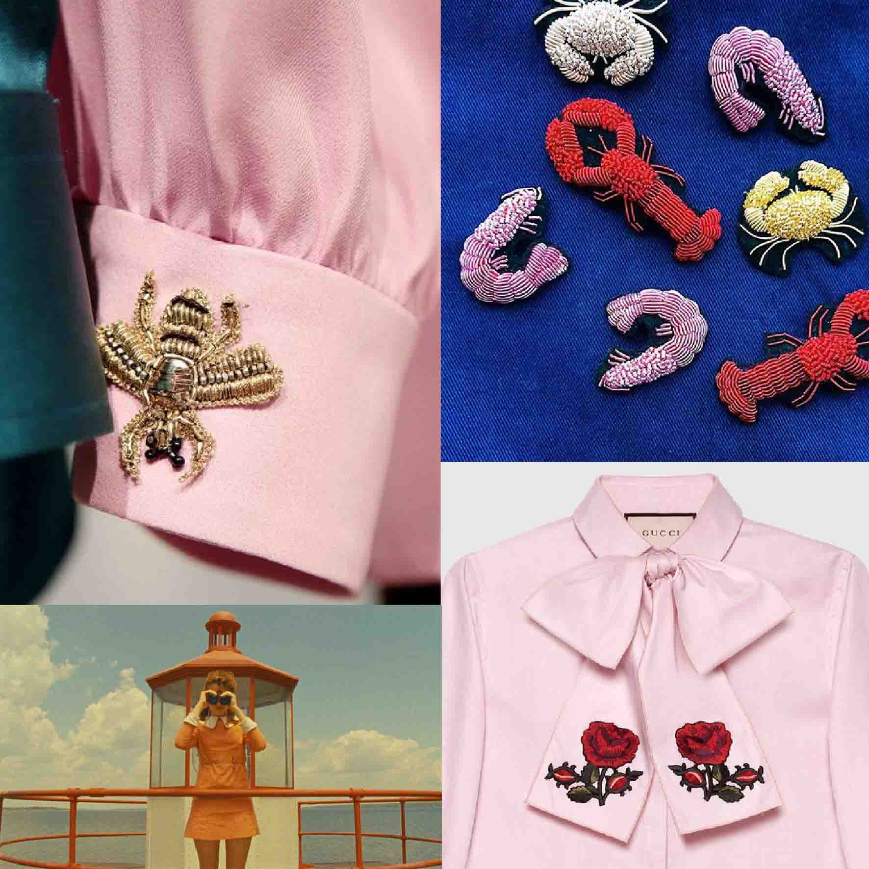 Inspiration: Top left and bottom right Gucci bottom left Suzy Bishop in Moonrise Kingdom Top Right Hattie McGill Embroidery
