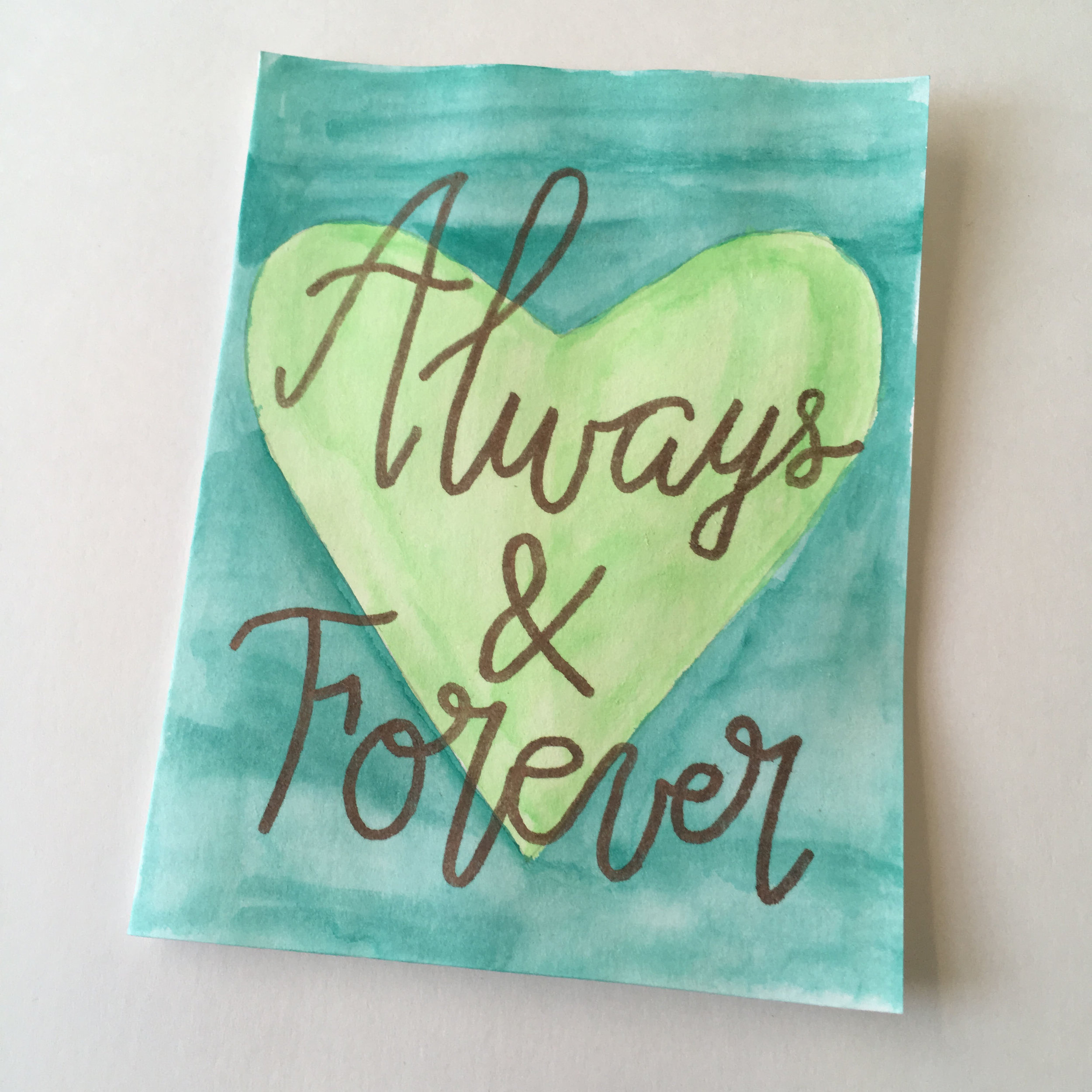 Always & Forever - Lime Green and Dark Blue Watercolor
