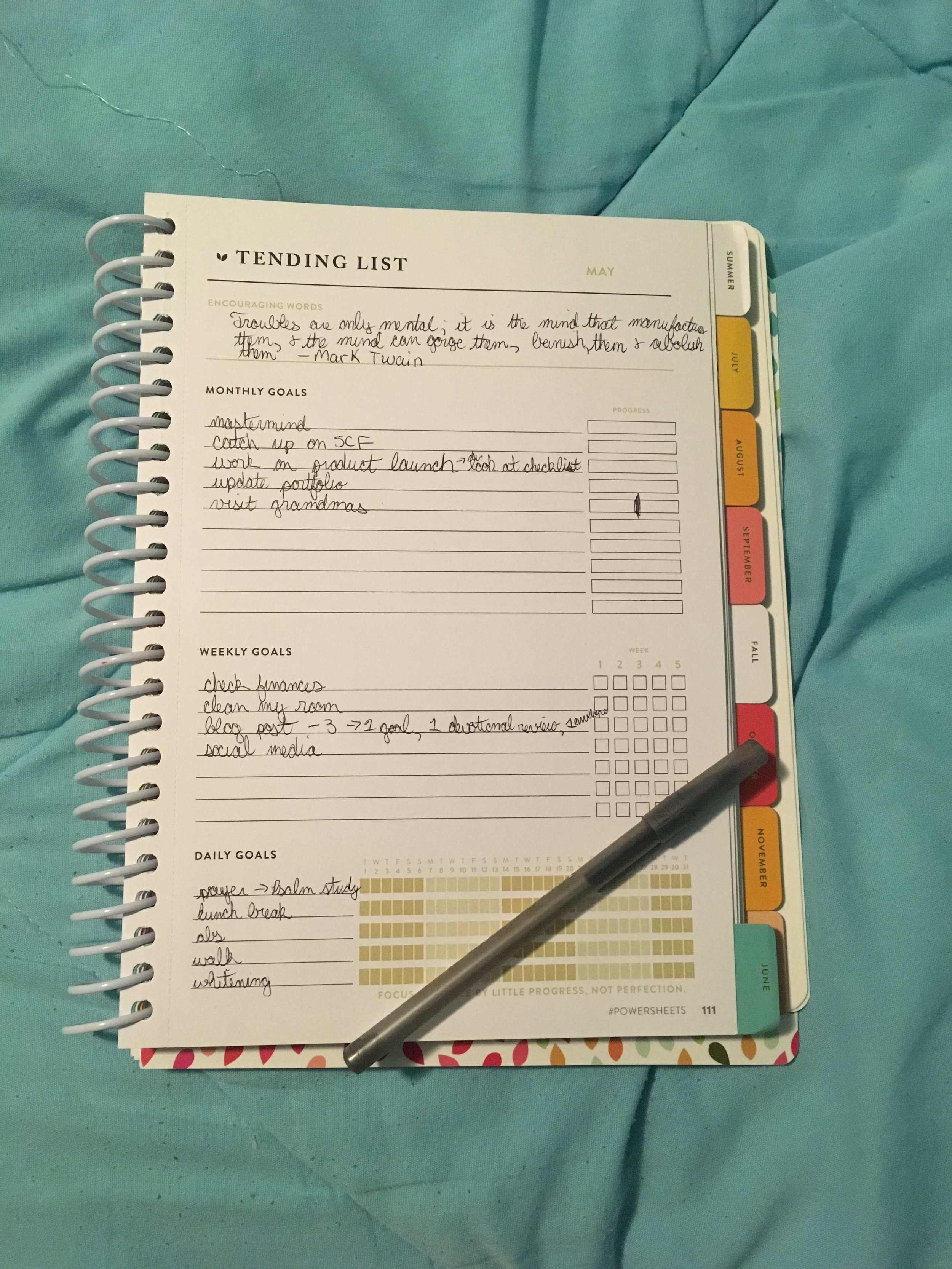 My May goals using my  Powersheets . You can get a six-month goal planner  here .