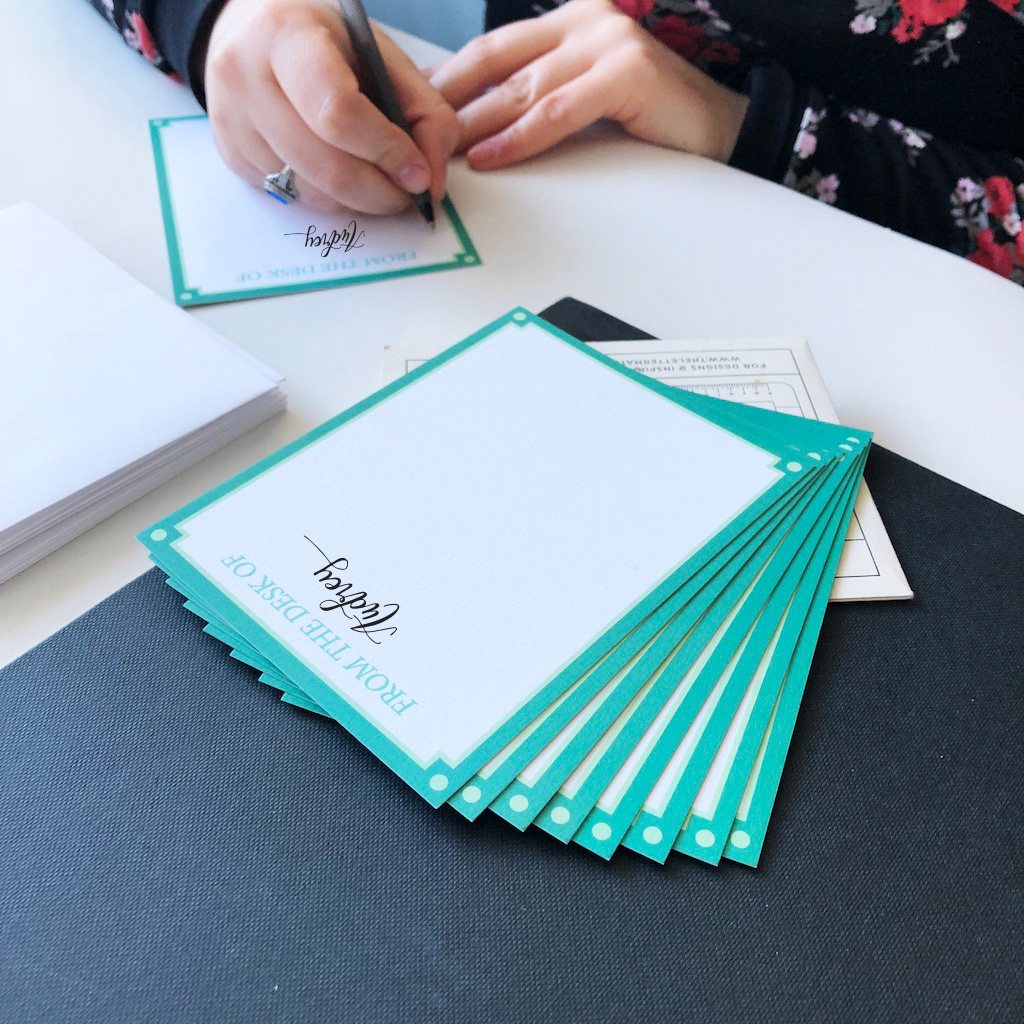 One of the new personalized stationery designs. They will be sold in sets of 10 and your first name will be hand-lettered by me on each notecard.