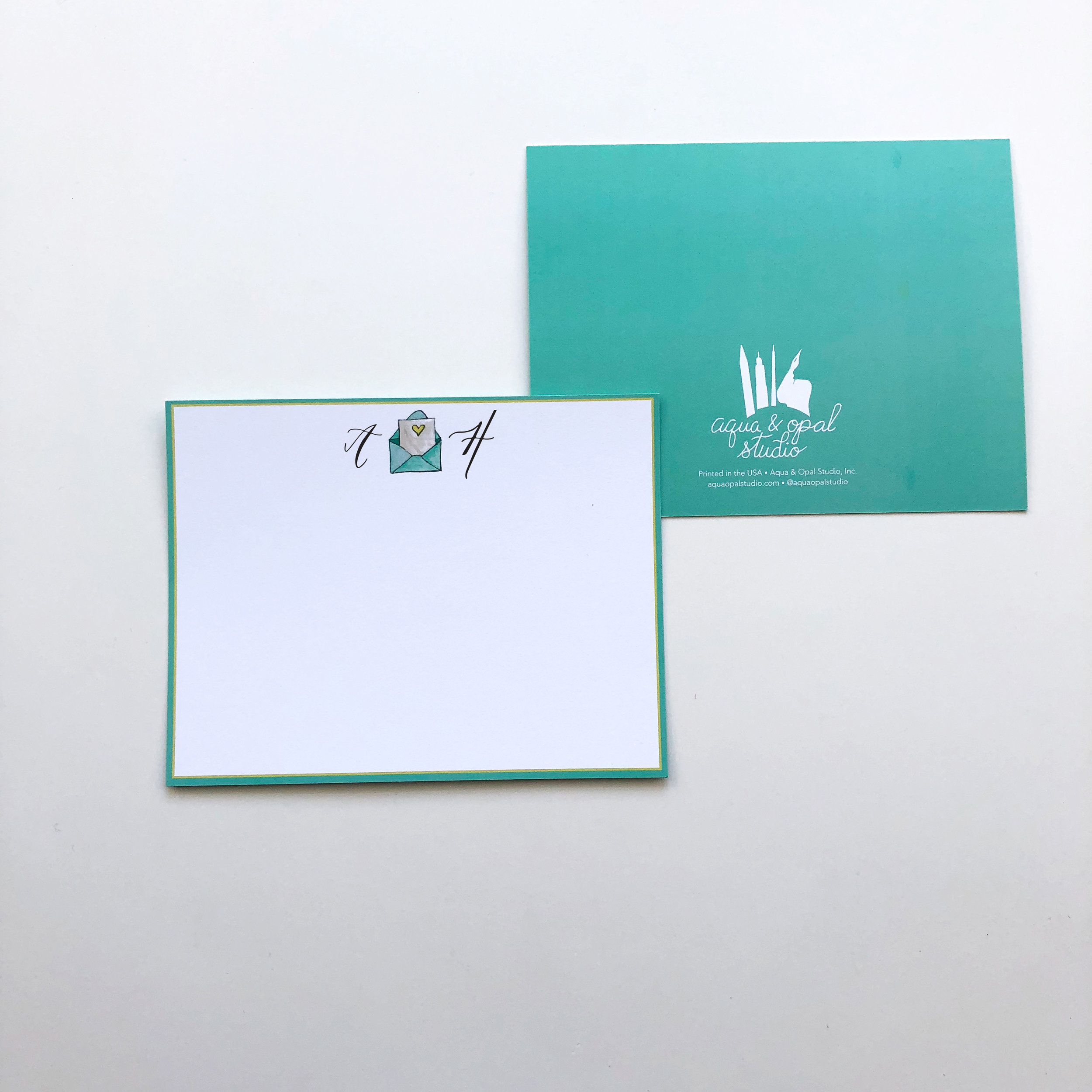 The other new personalized stationery design. They will be sold in sets of 10 and your monogram will be hand-lettered by me on each notecard.